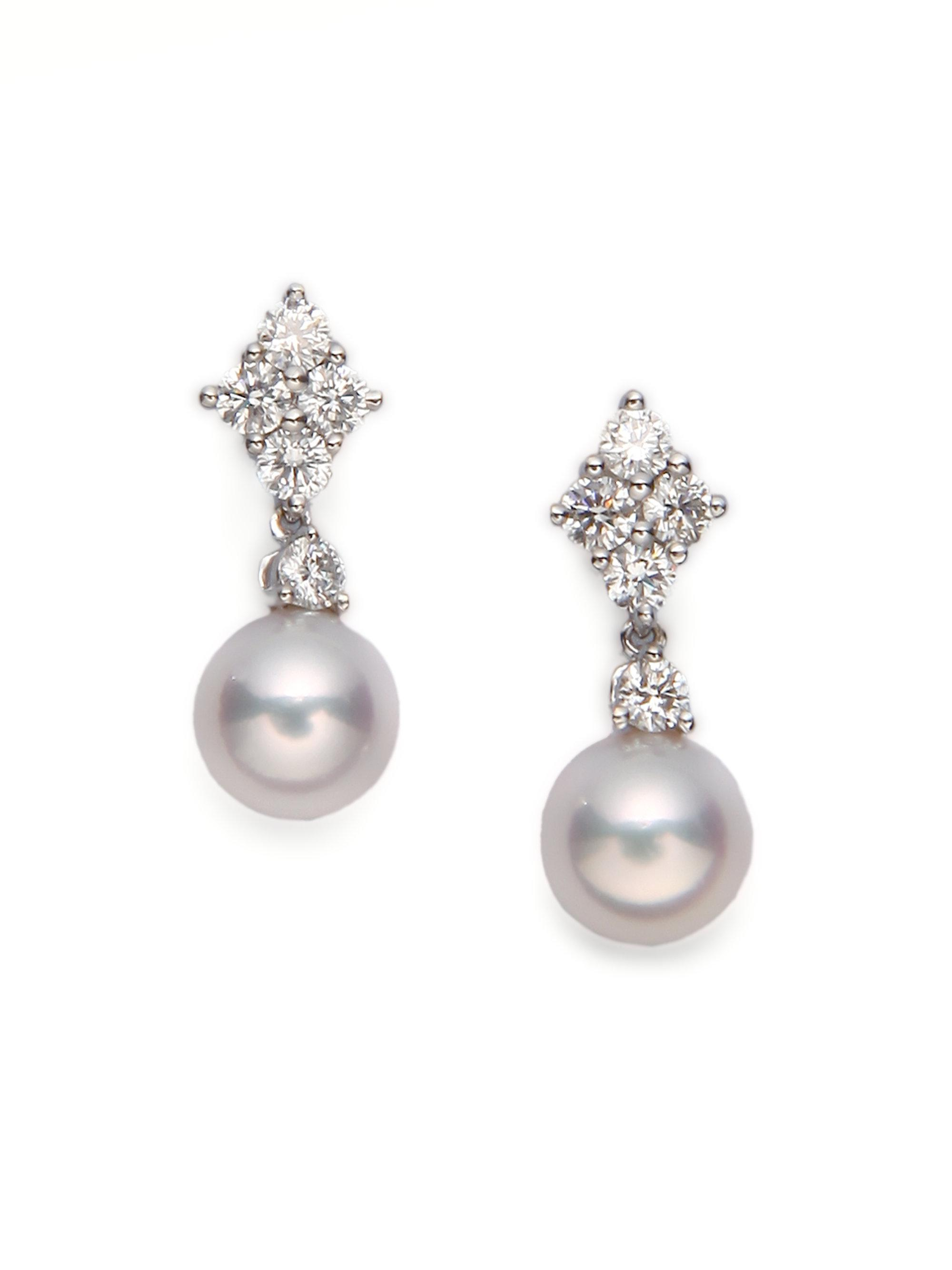 84eb07db4 Mikimoto 7.5mm White Cultured Akoya Pearl, Diamond & 18k White Gold ...