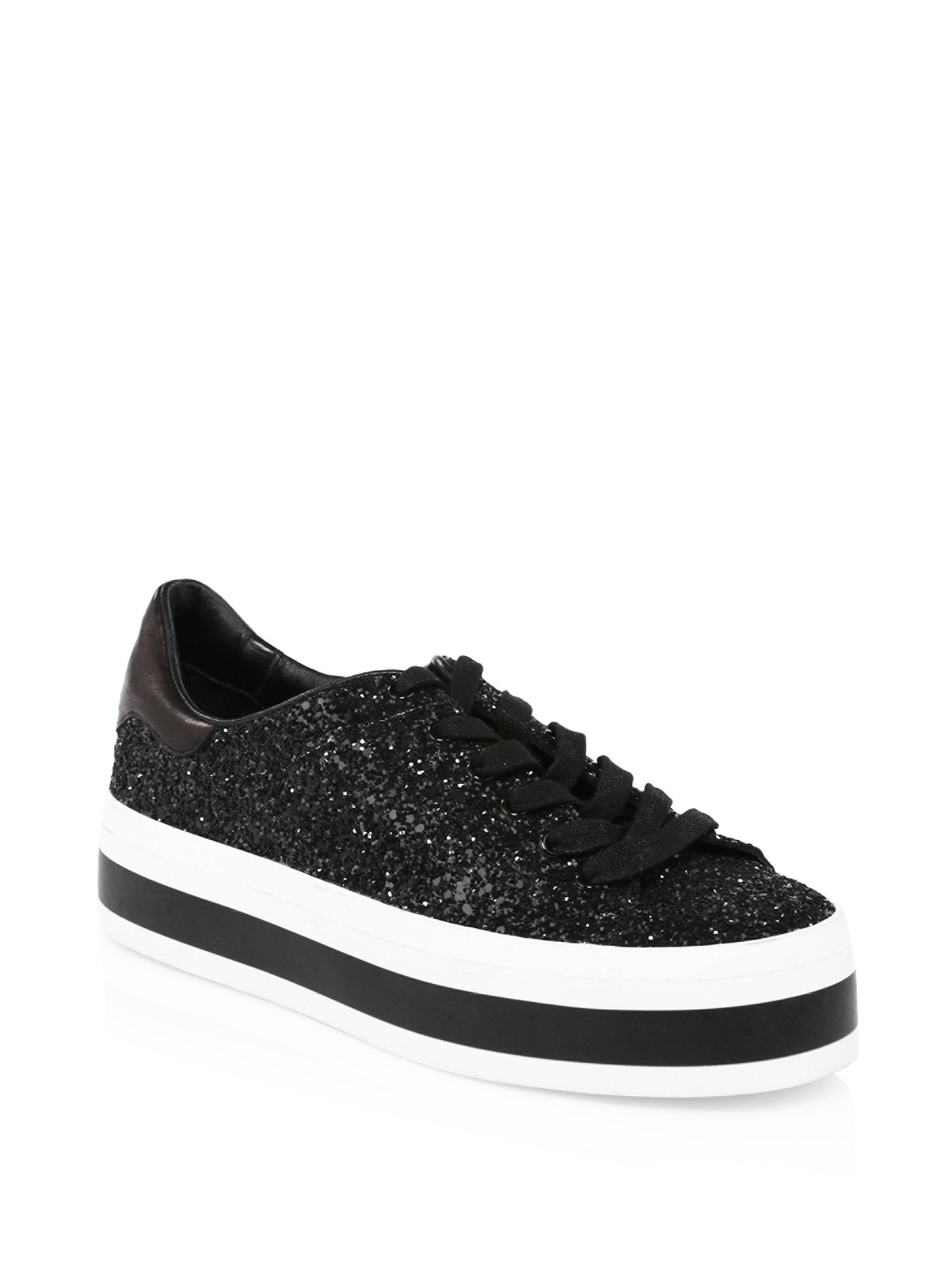 ALICE+OLIVIA Ezra Glitter Leather Platform Sneakers mewetTcY