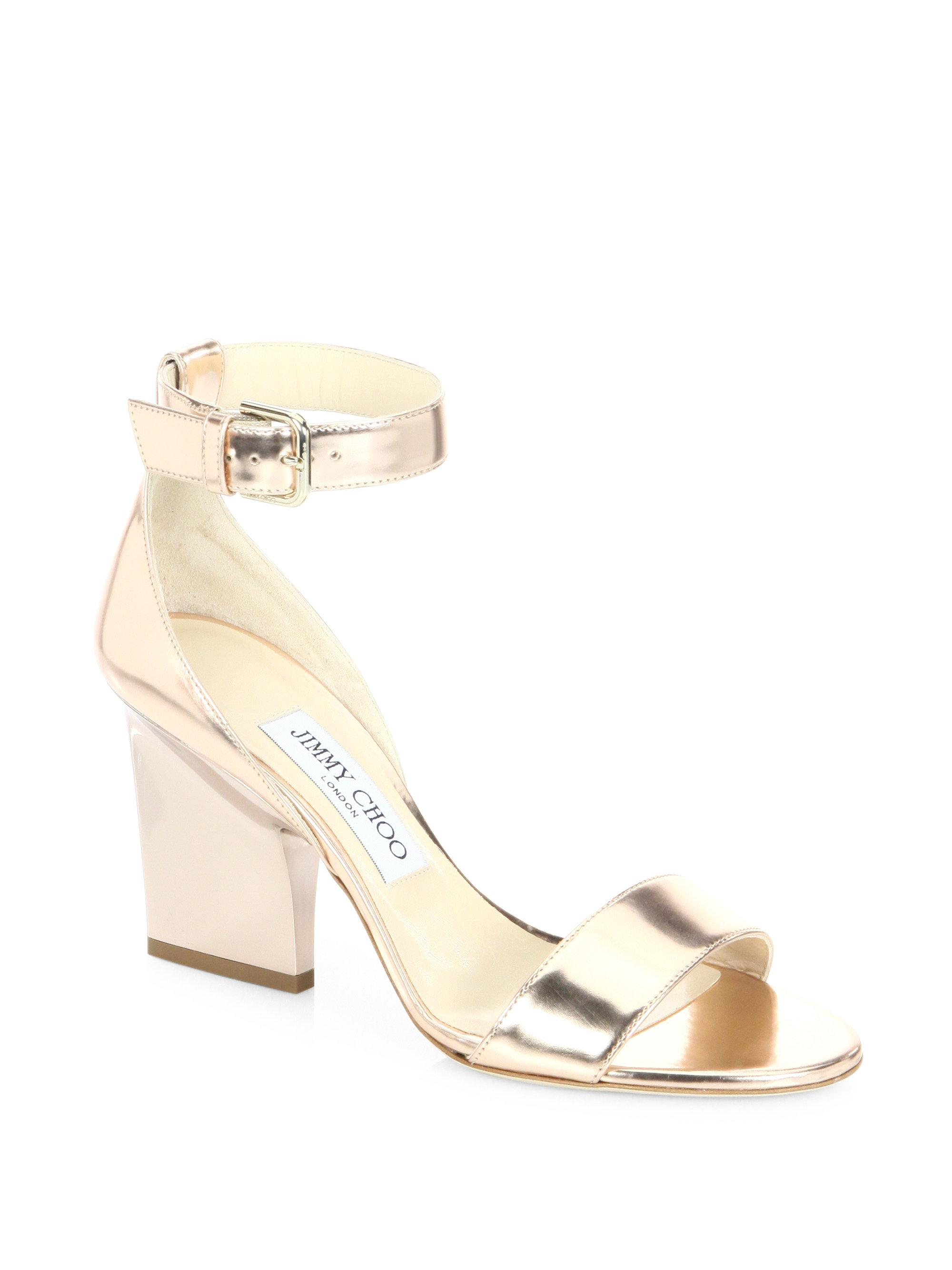 c48a98cdcde Lyst - Jimmy Choo Edina 85 Metallic Leather Ankle-strap Sandals in ...