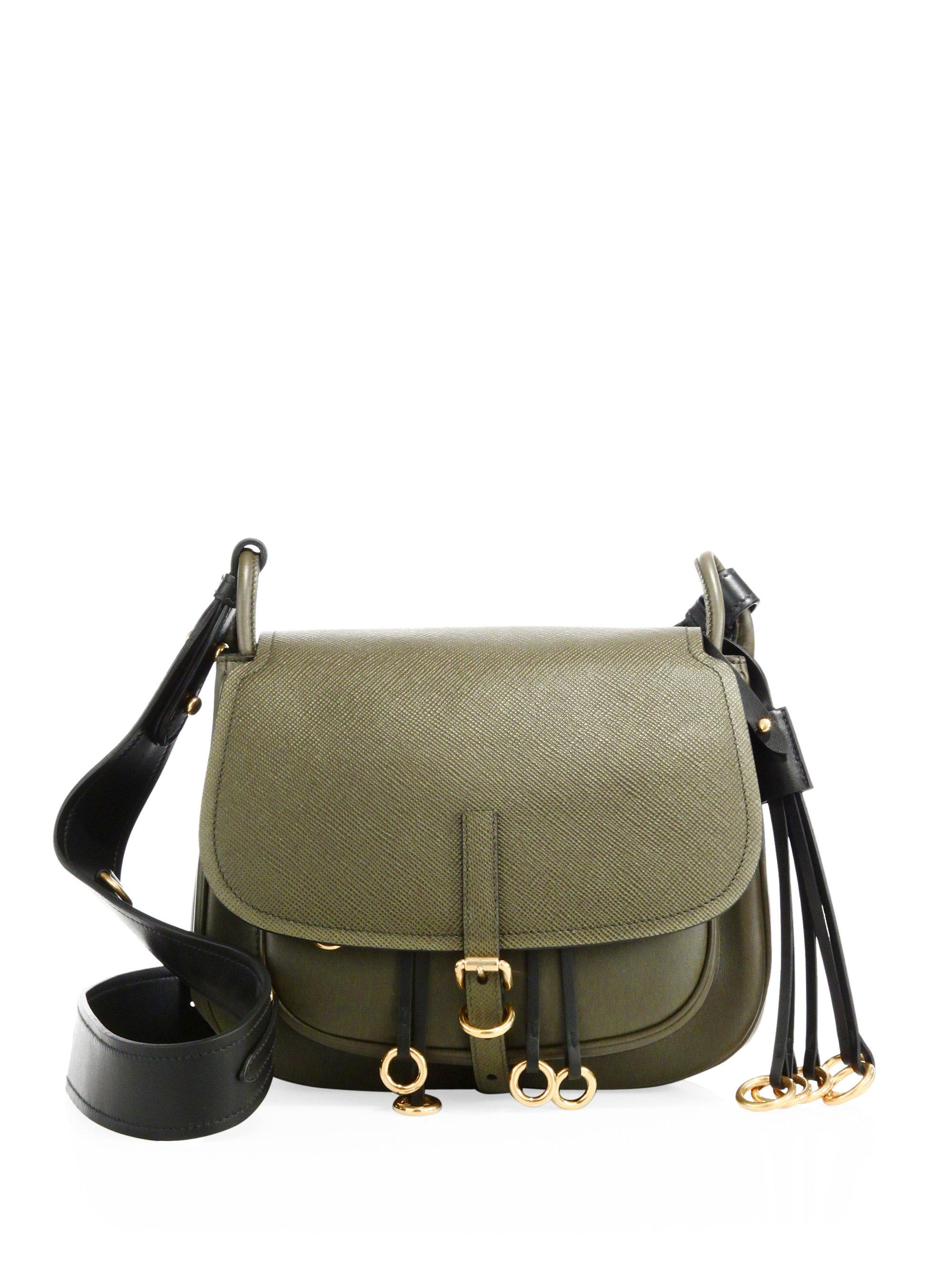 fb2d8eb85a5f Prada Corsaire Leather Shoulder Bag in Green - Lyst