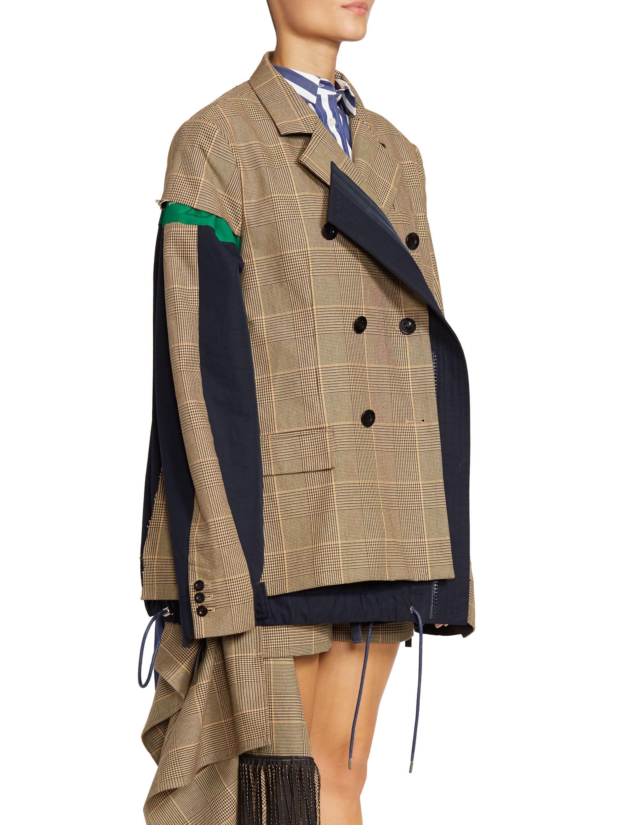 349249cc Sacai Glen Check Drawstring-hem Jacket - Lyst