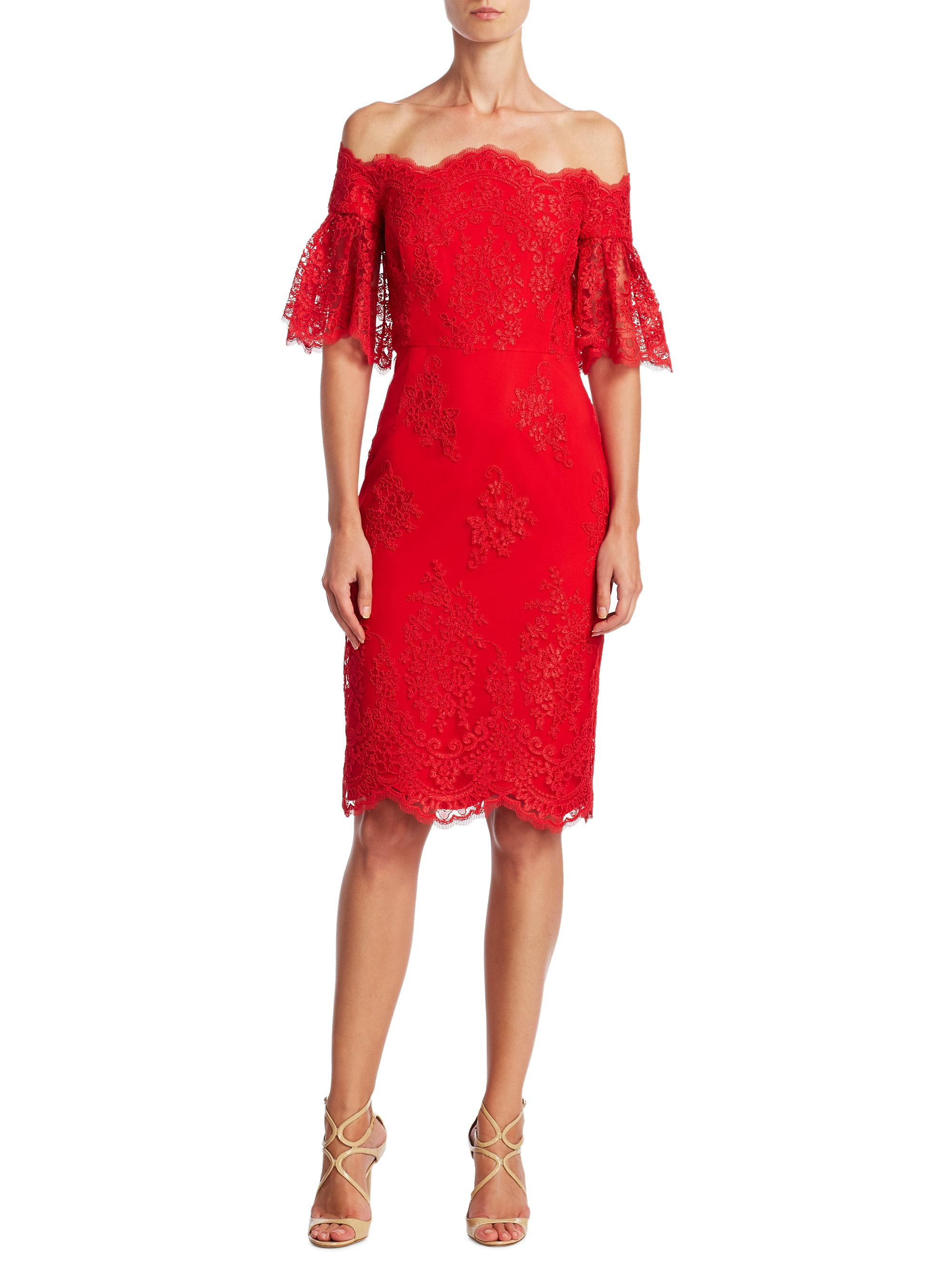Badgley mischka off the shoulder bell sleeve dress in red for Badgley mischka store nyc