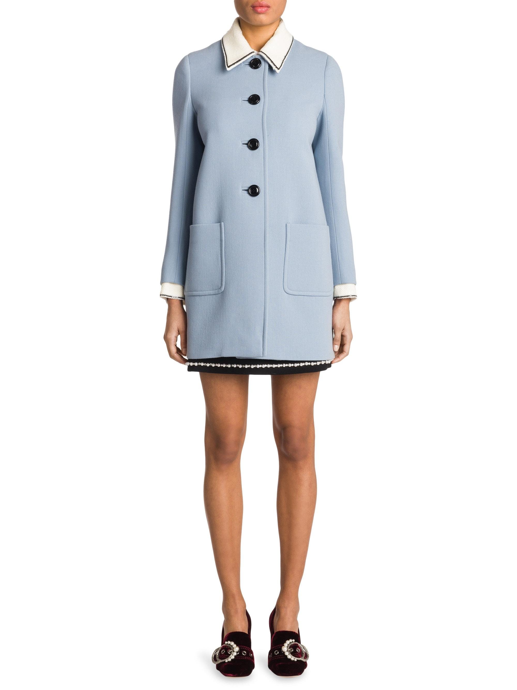 36b1d046318 Lyst - Miu Miu Sequin-trimmed Crepe Wool Coat in Blue