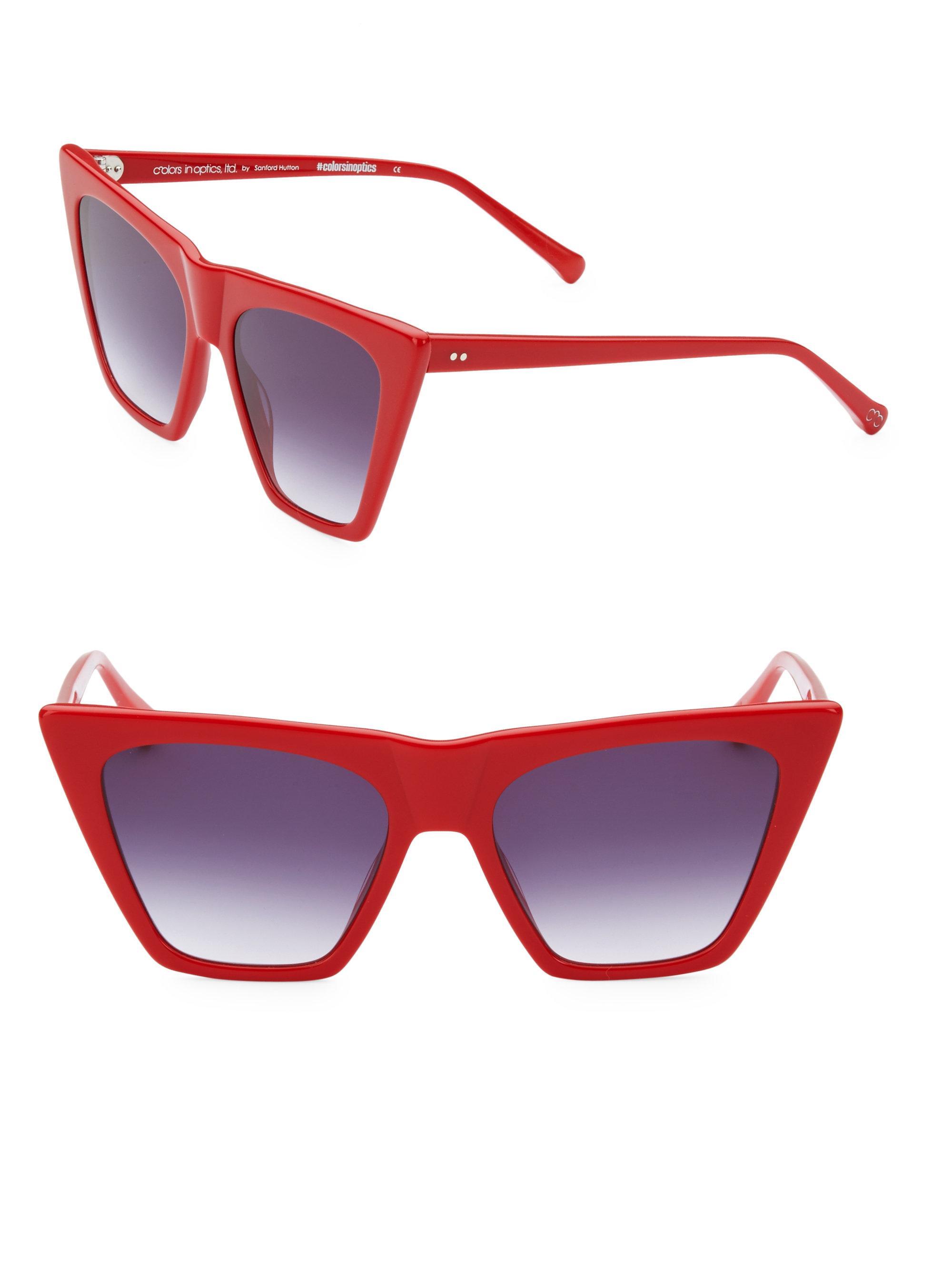 786e332a5e Lyst - Colors In Optics Metropolitan 55mm Cat Eye Sunglasses in Red