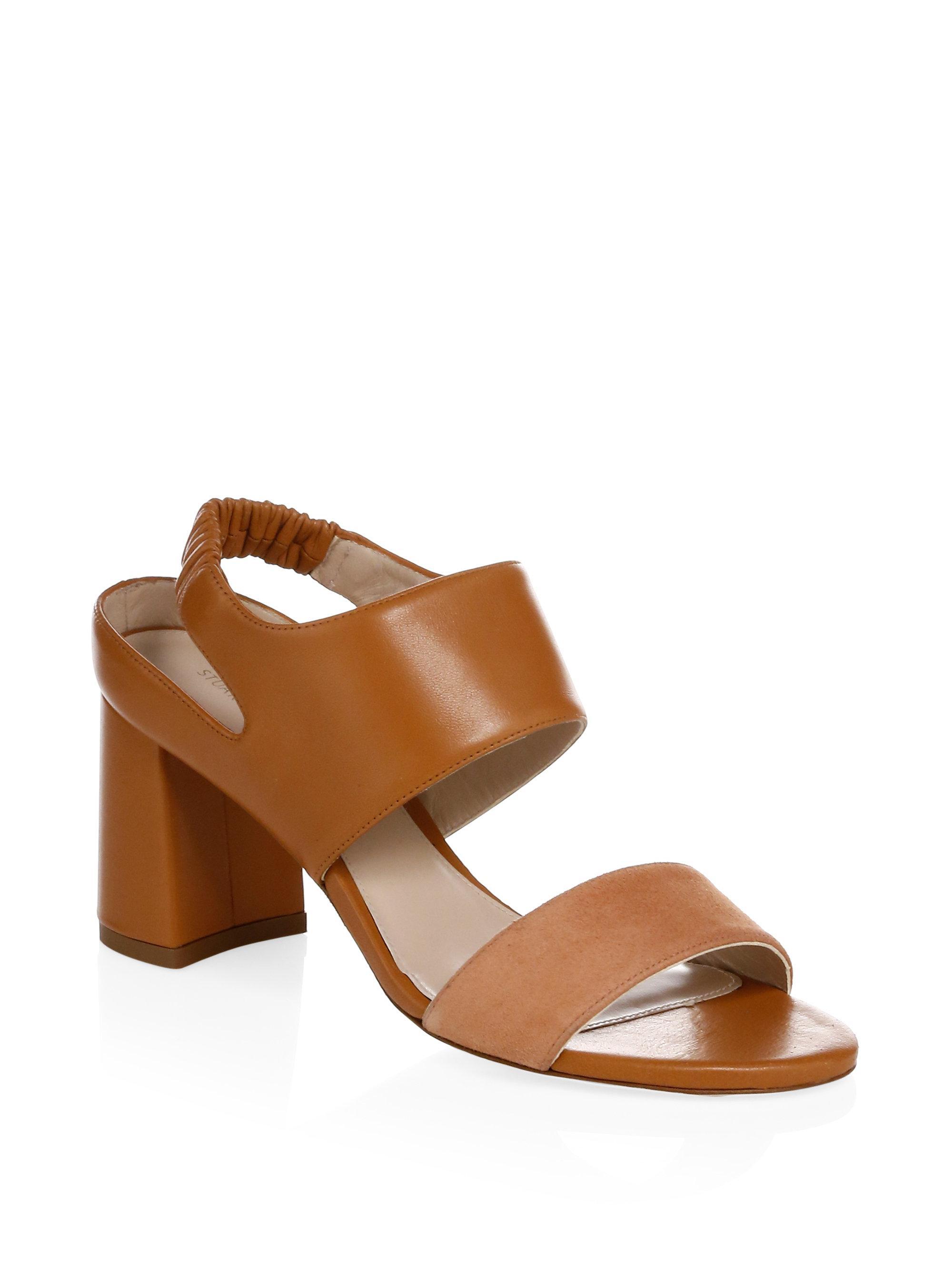 Stuart Weitzman Erica Elastic Strap Block-Heel Sandal 0XzHr