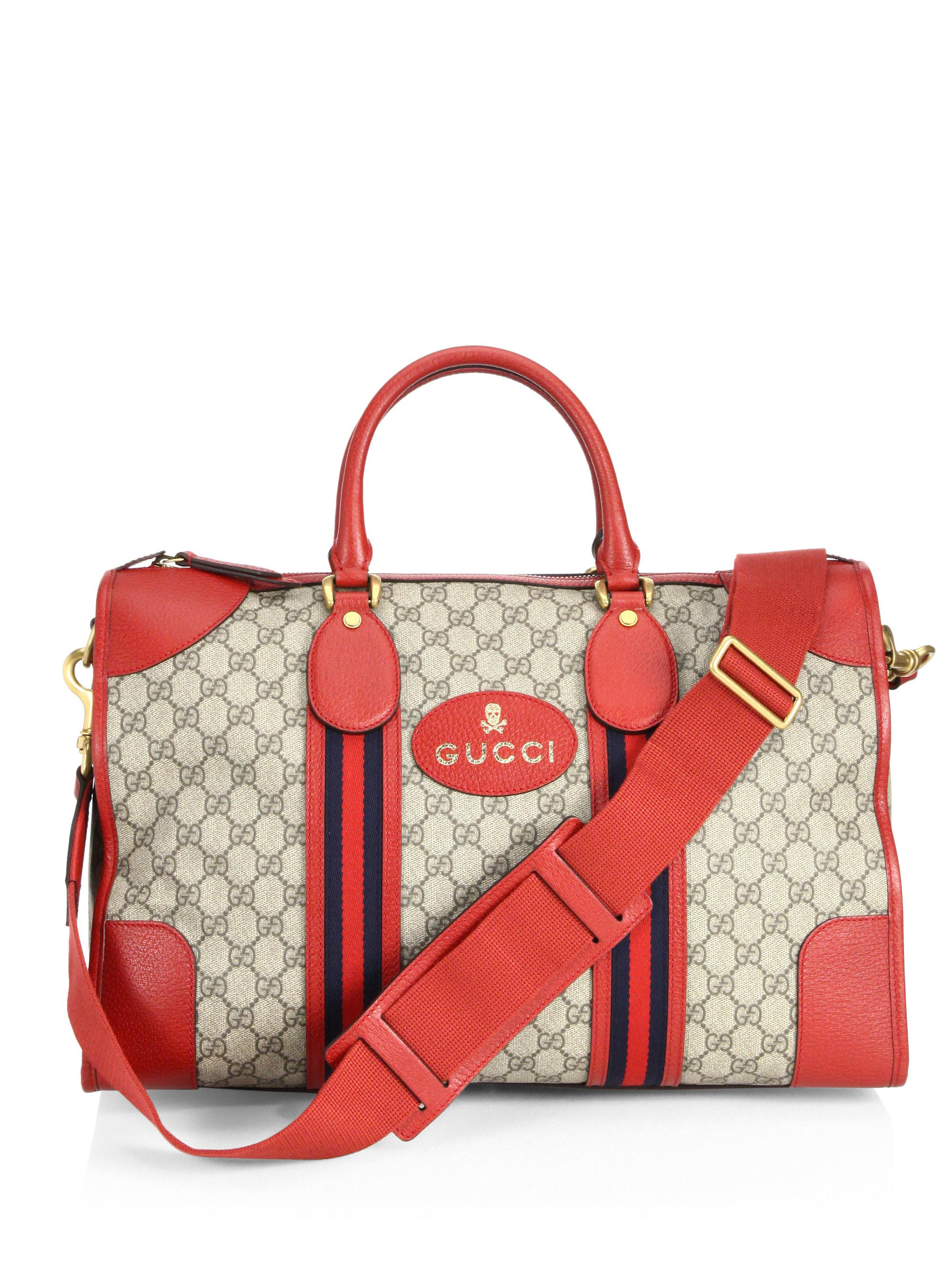 a1d17227d943 Gucci Soft Gg Supreme Web-detail Duffle Bag in Red - Lyst