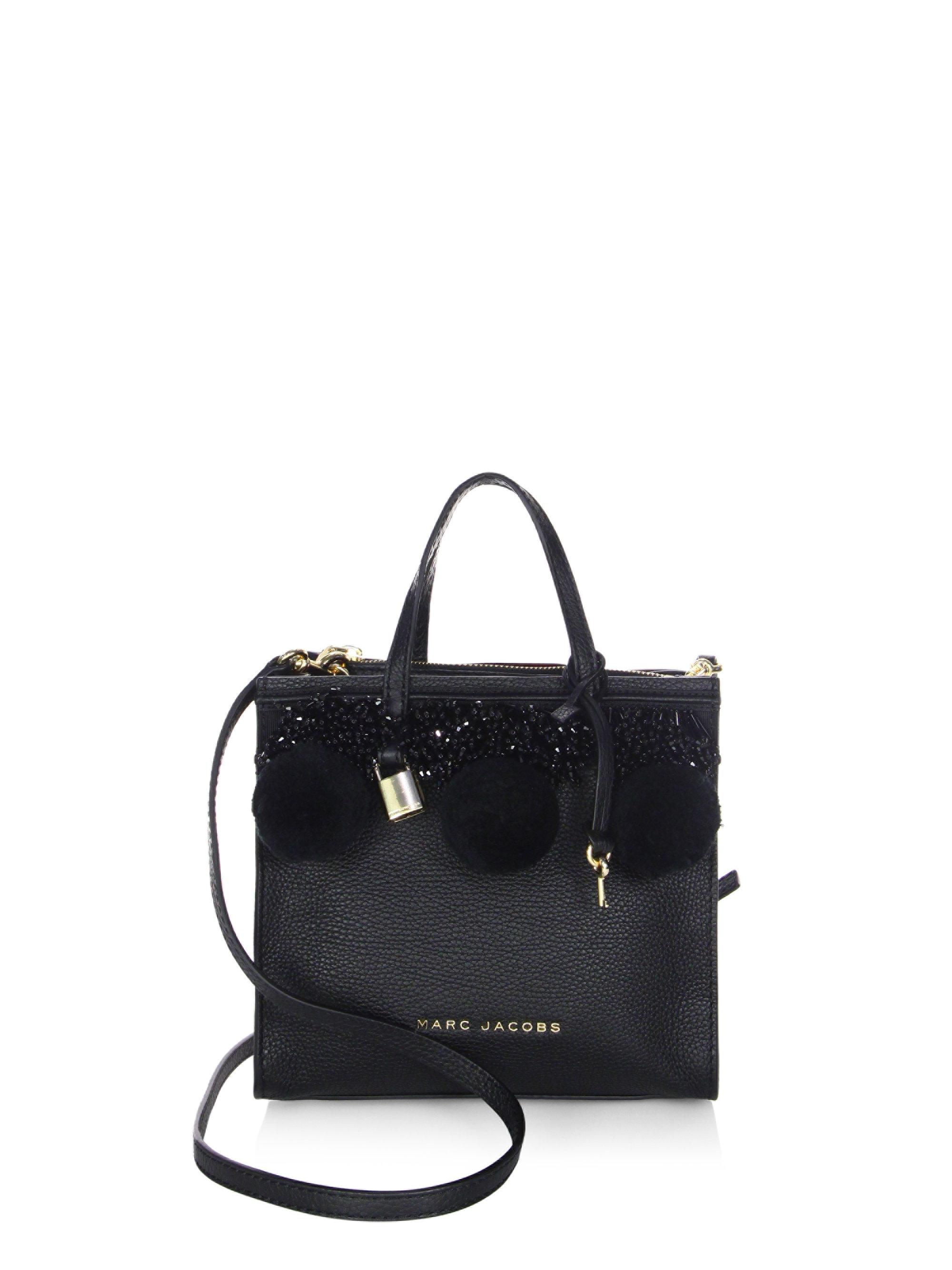 3183ad10948d Marc Jacobs Mini Grind Bead And Poms Leather Crossbody Bag in Black ...