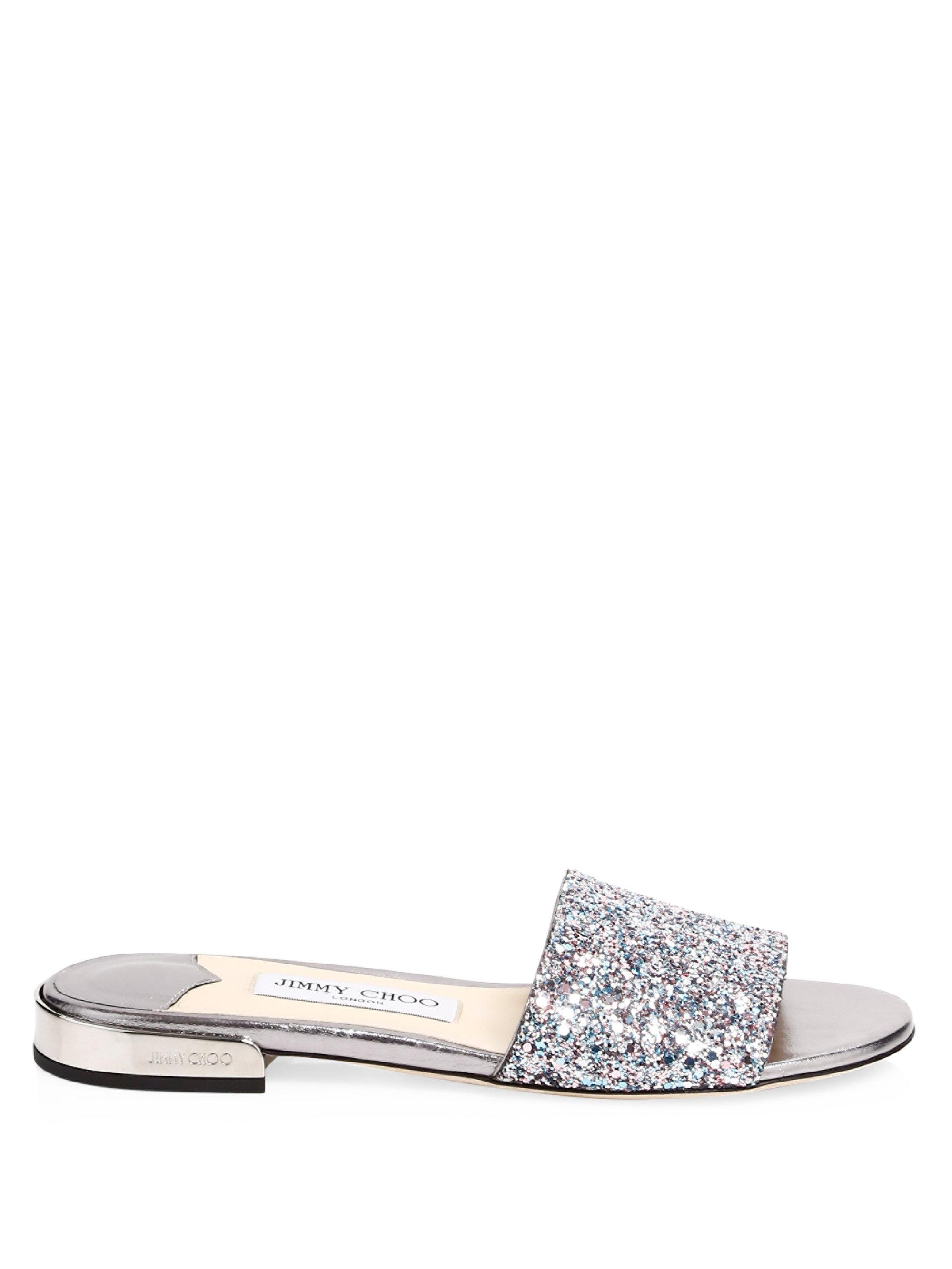 Jimmy choo Joni Glitter-Embossed Leather Slides nPXOe4