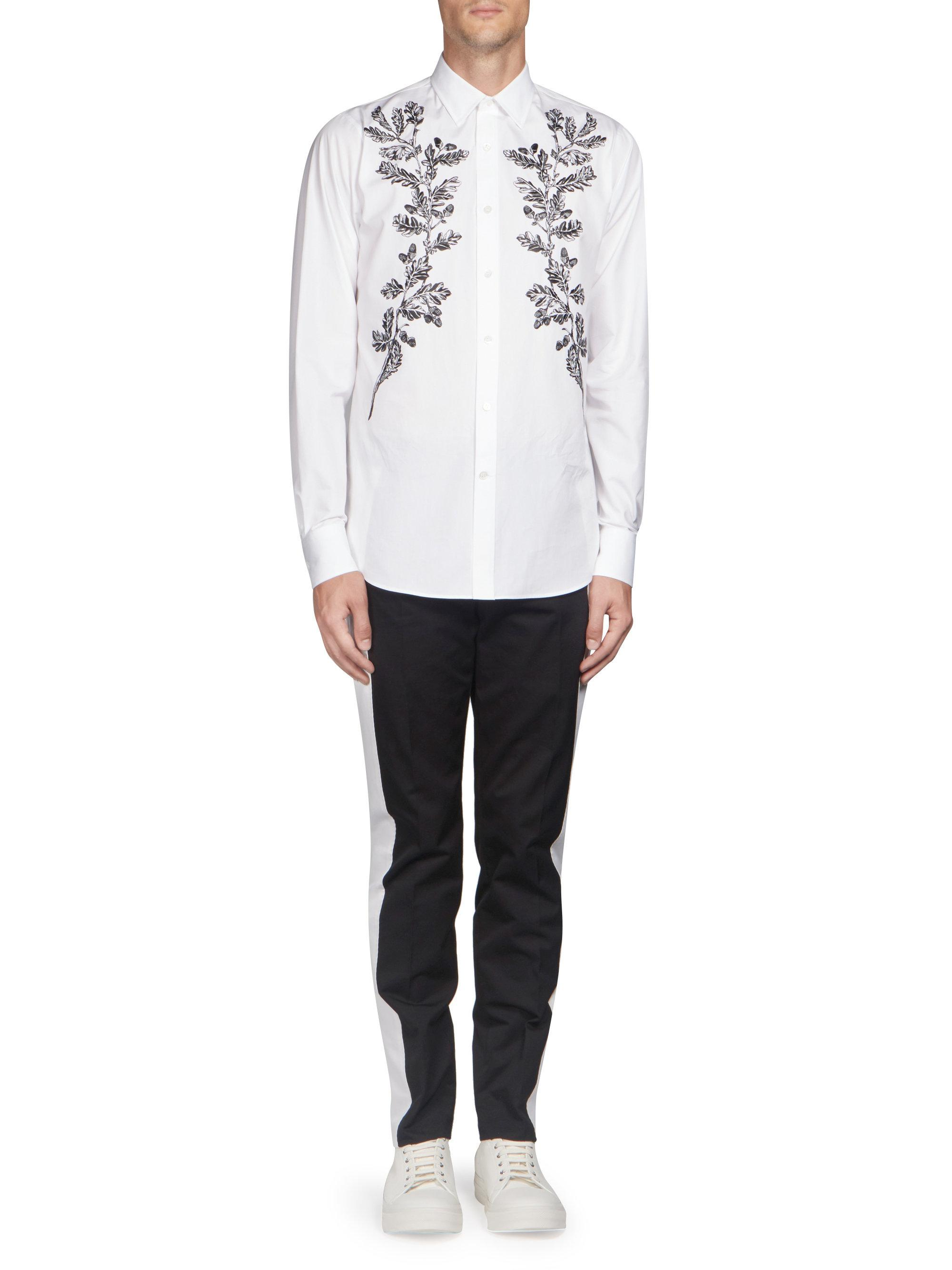 Alexander McQueen White Embroidered Leaves Button-down Shirt for men