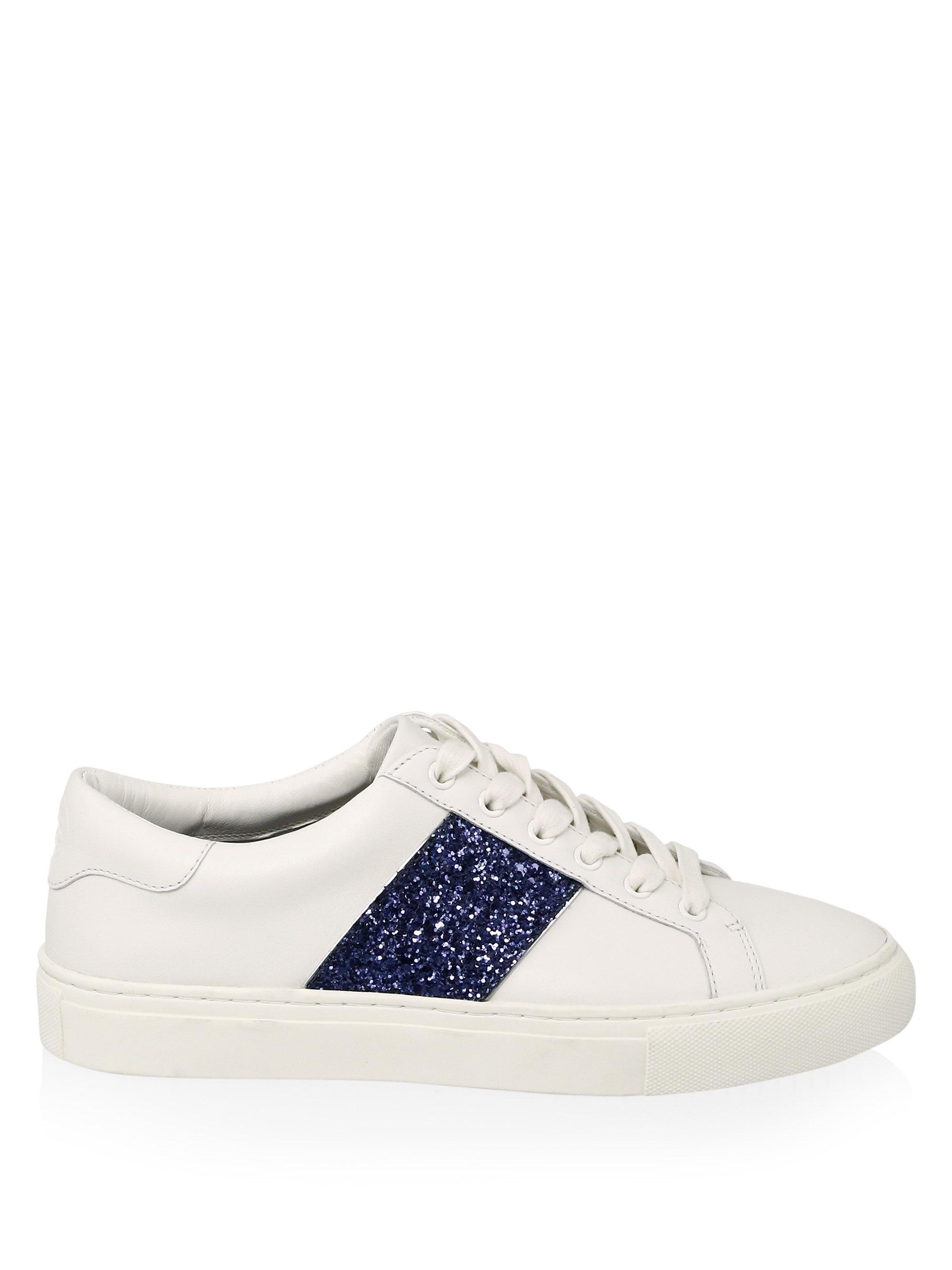 Tory Burch Carter Glitter Lace Up Leather Sneakers In