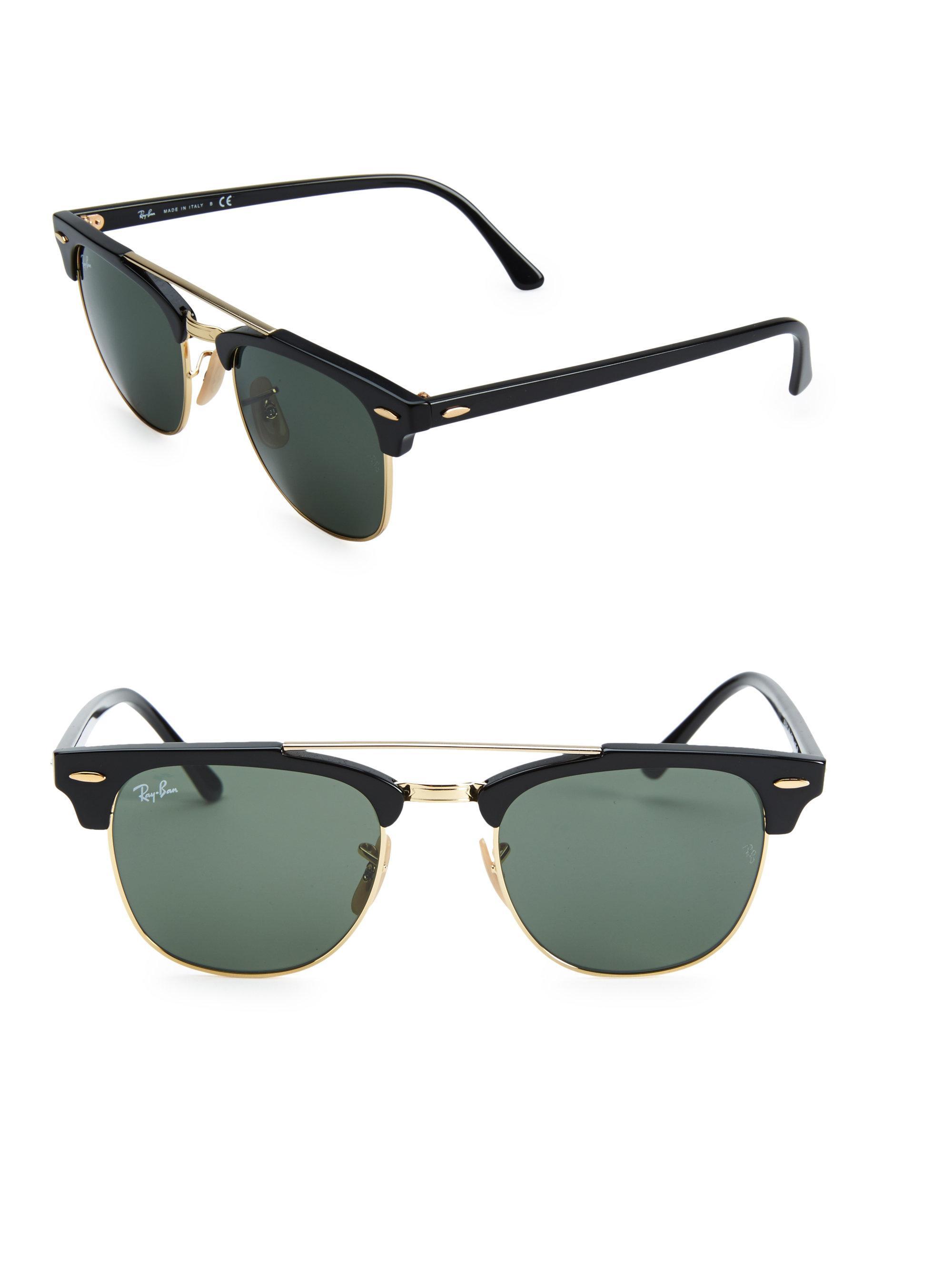 35e70d25db Lyst - Ray-Ban Clubmaster 21mm Double Bridge Sunglasses in Black for Men