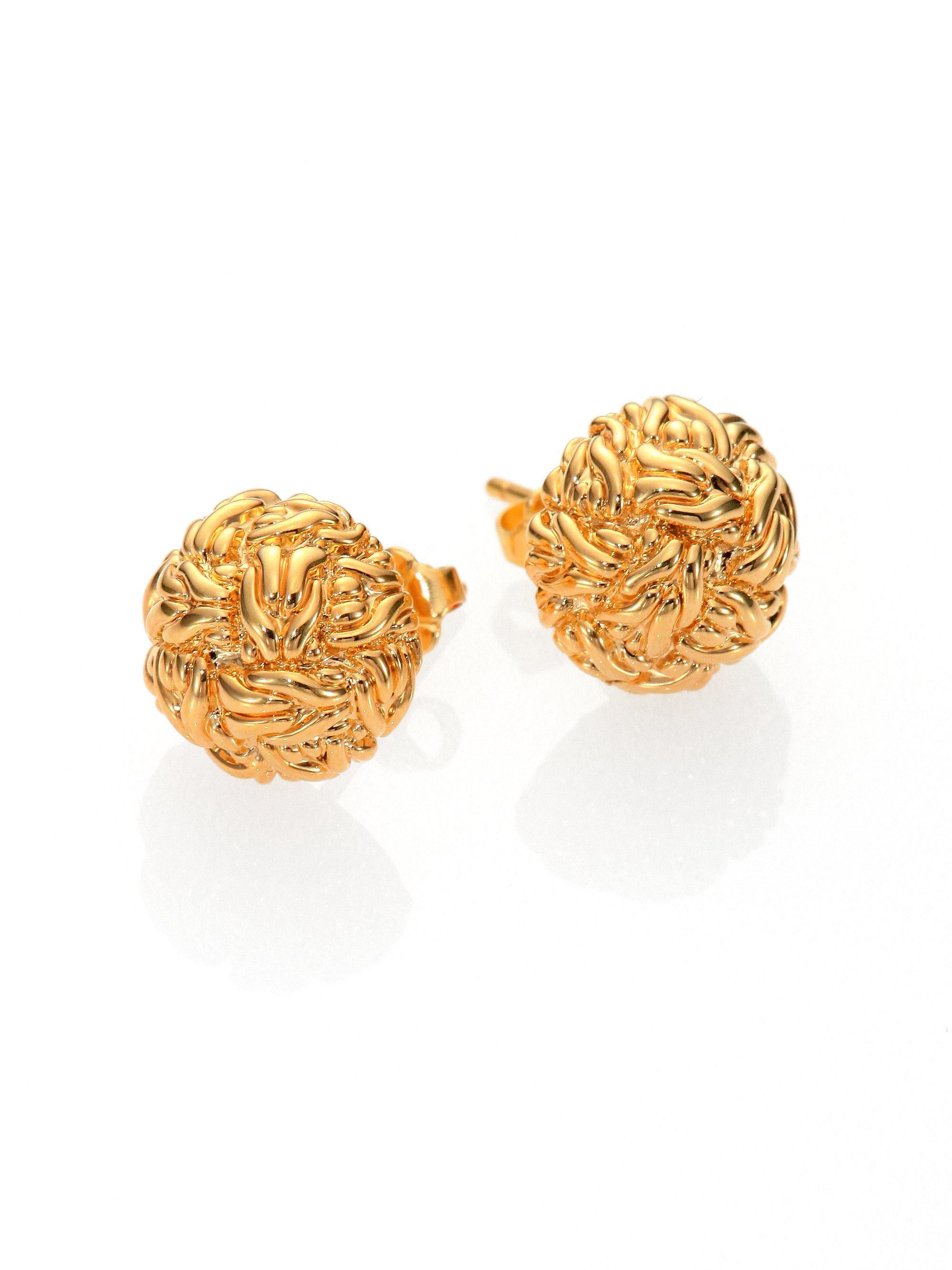 John Hardy Women S Metallic Clic Chain 18k Yellow Gold Stud Earrings