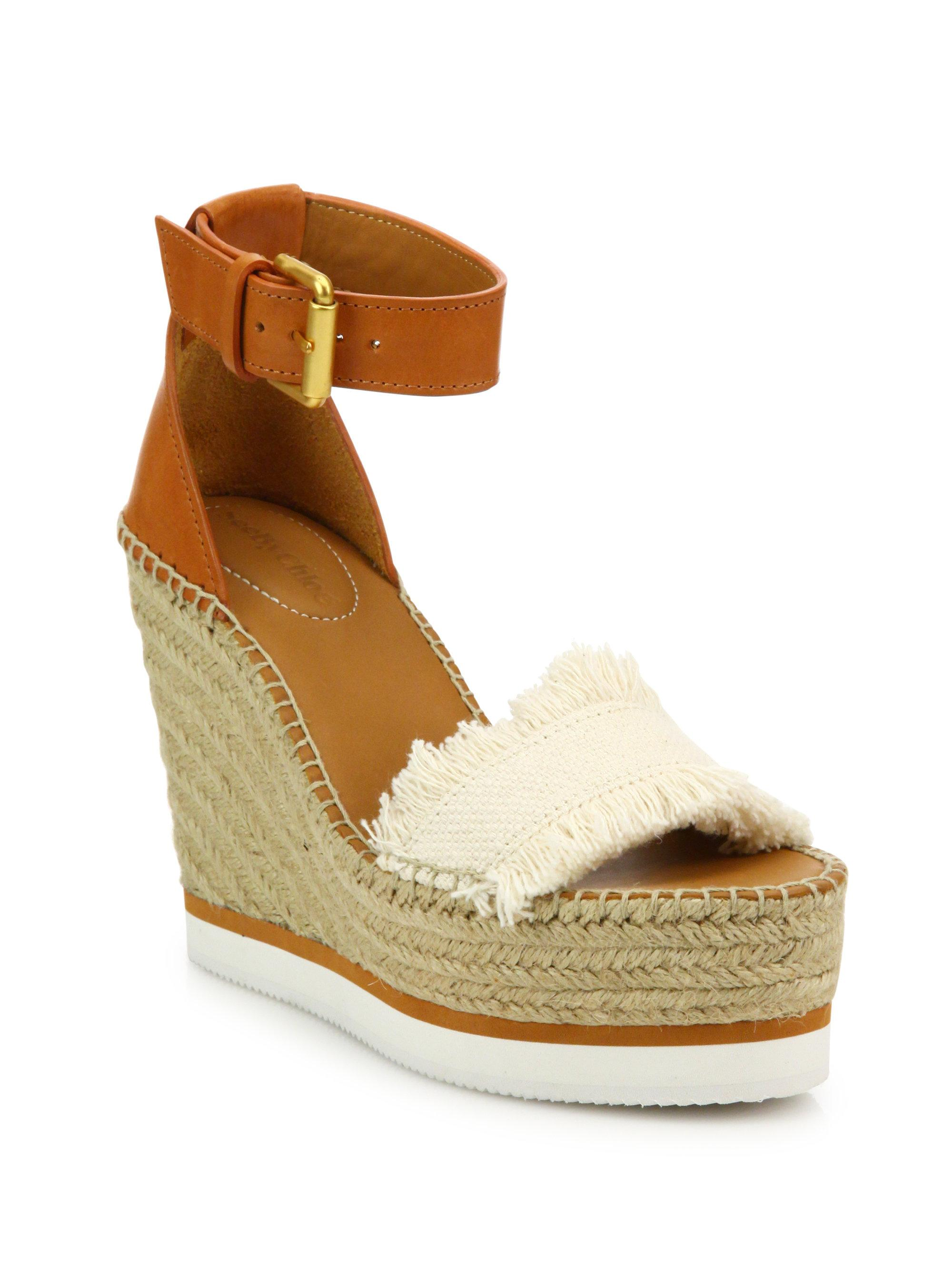 48d3f6f6e35 See By Chloé. Women s Glyn Leather   Frayed Canvas Espadrille Wedge  Platform Sandals