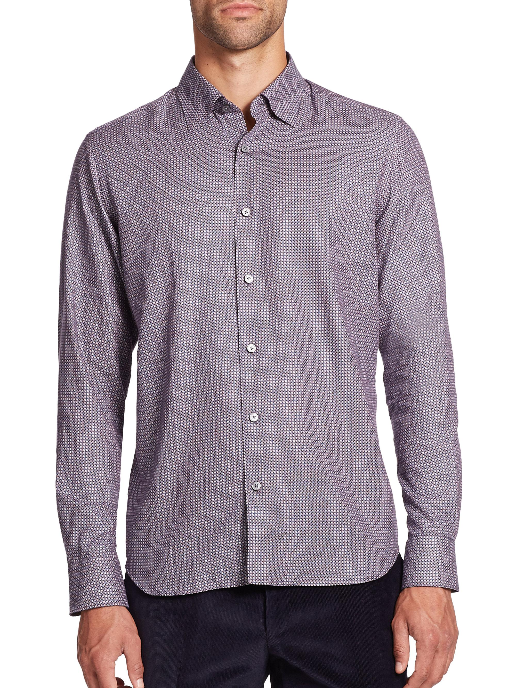 Lyst saks fifth avenue printed cotton button down shirt for Cotton button down shirts men