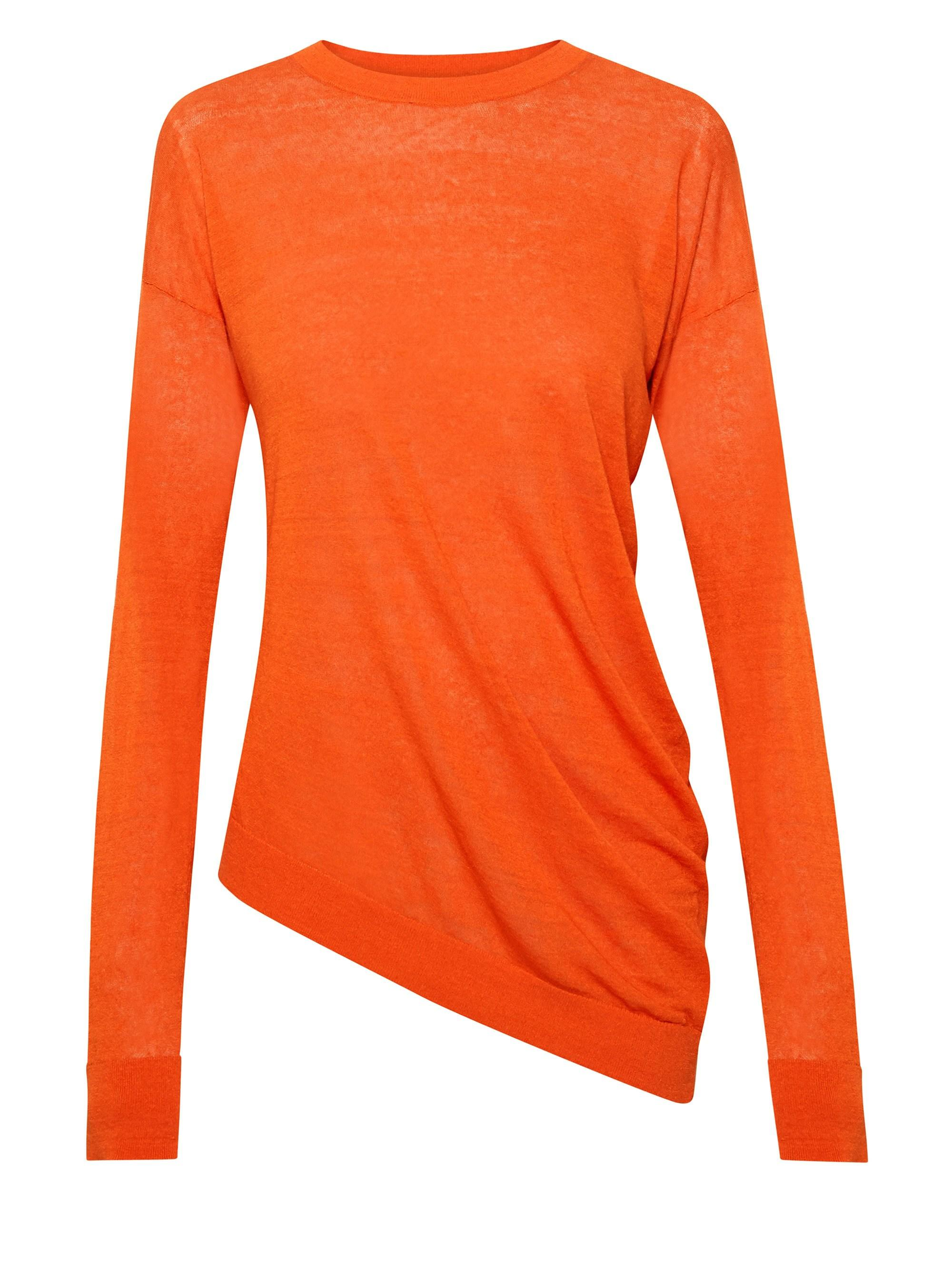 4d134b0087 Theory Women's Sag Harbor Asymmetric Long-sleeve Top - Coral in ...