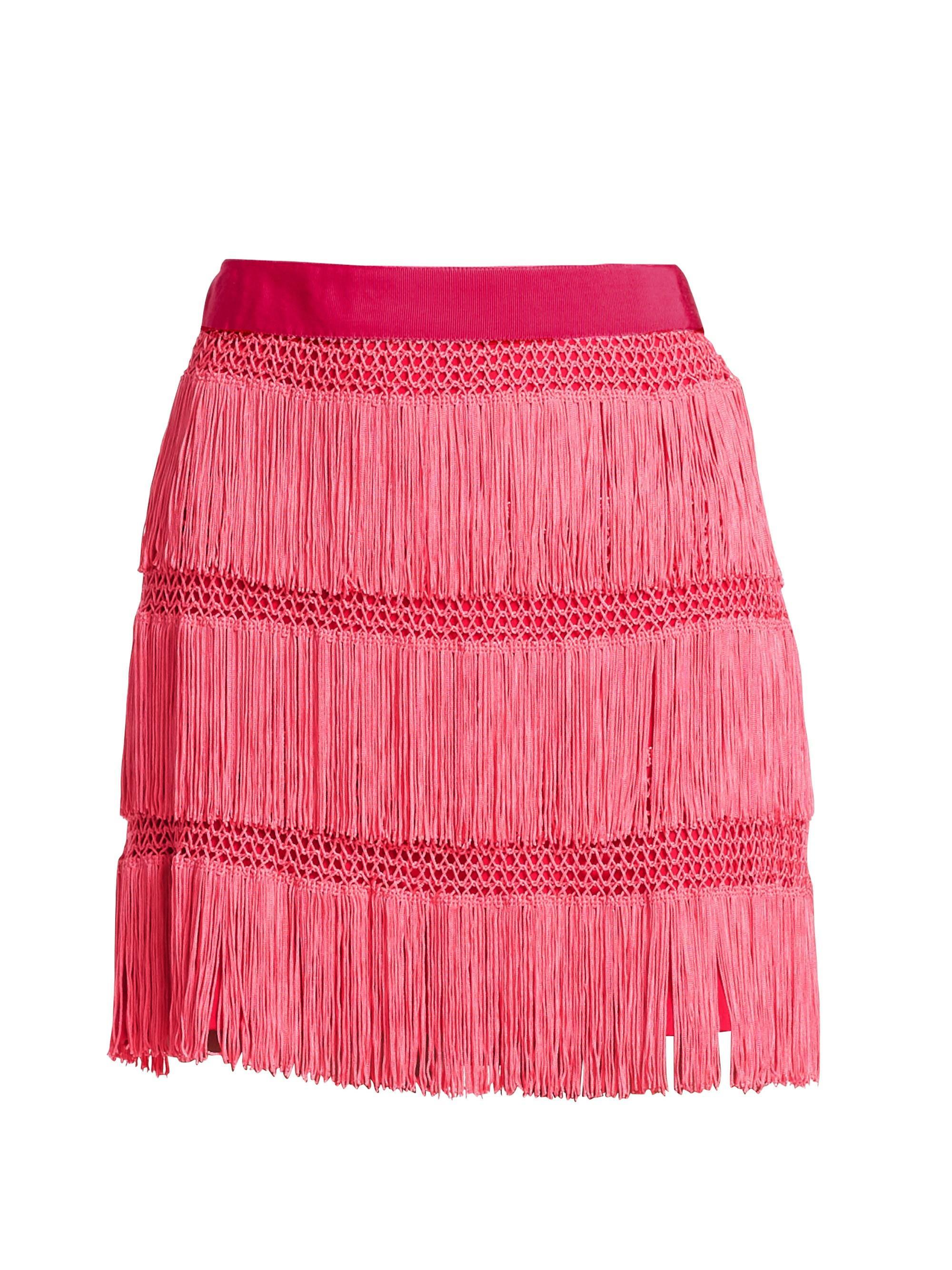 b777f61268 Lyst - Alberta Ferretti Women's Fringe Skirt - Pink - Size 48 (14 ...