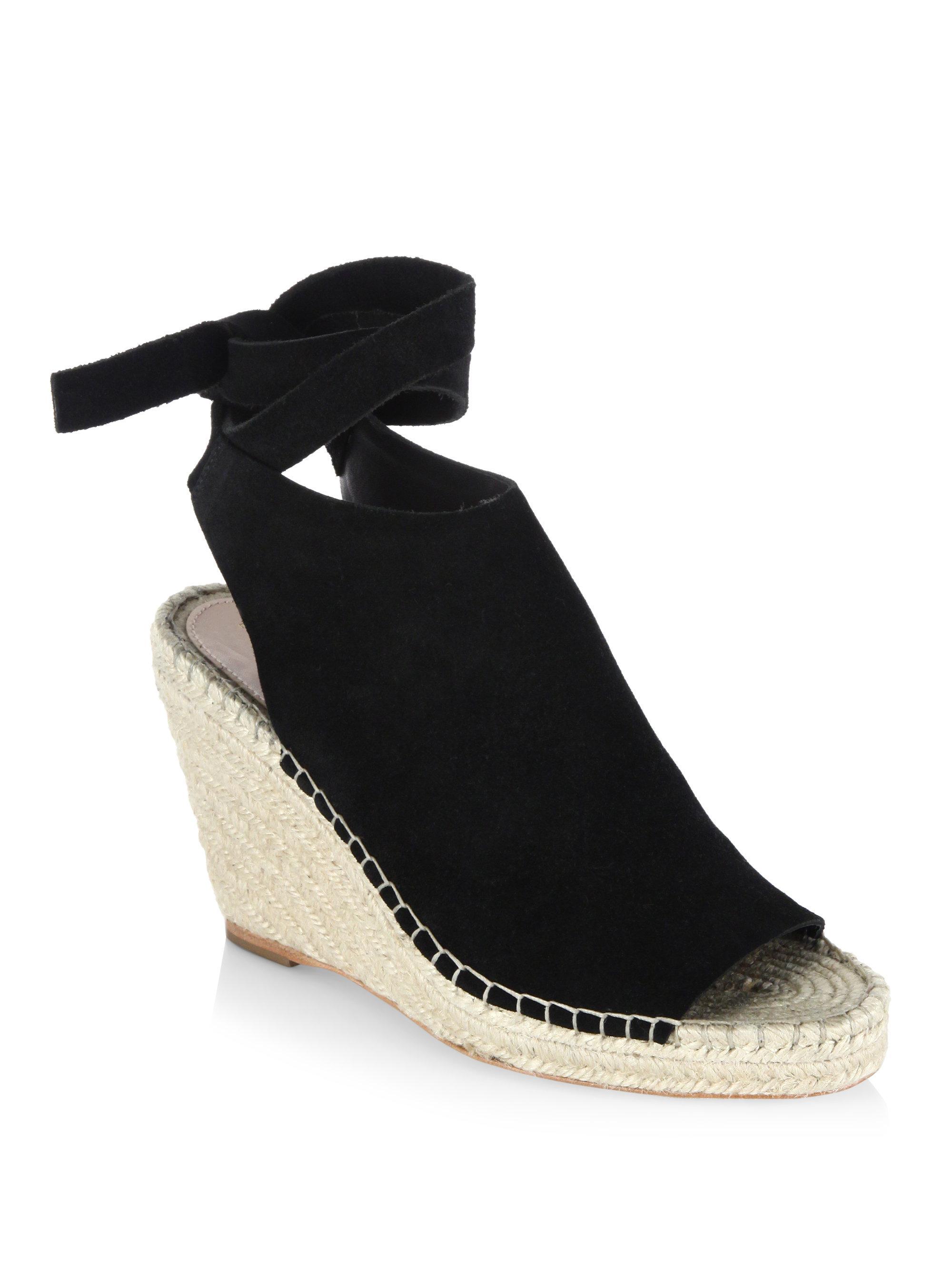 fb2bbc60ad2 Loeffler Randall - Black Lyra Split Suede Espadrille Wedge Sandals - Lyst
