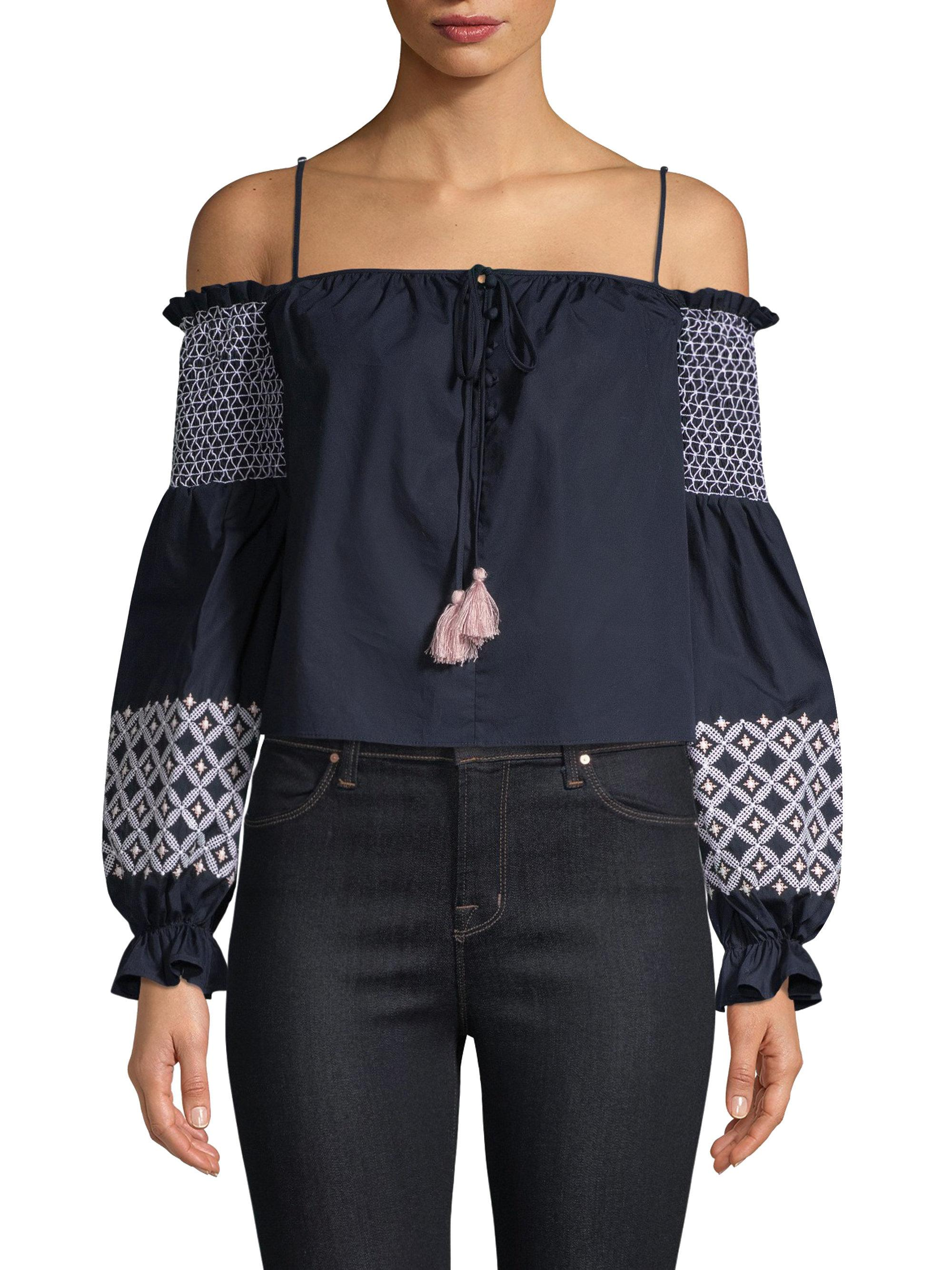 Rebecca Minkoff. Women's Blue Tiffany Cold Shoulder Top