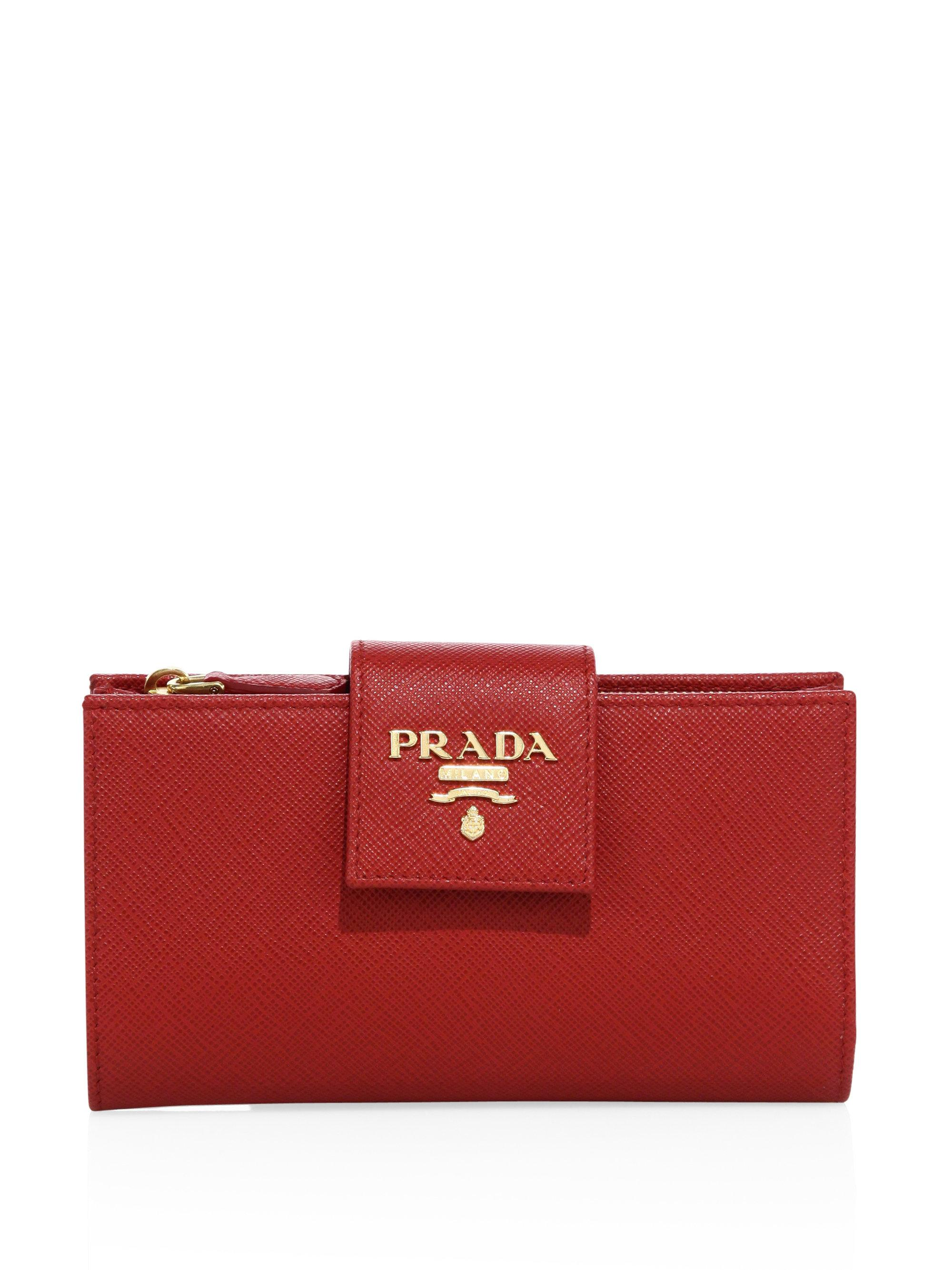 5681769a39d4 Lyst - Prada Saffiano Leather Tab Wallet in Red