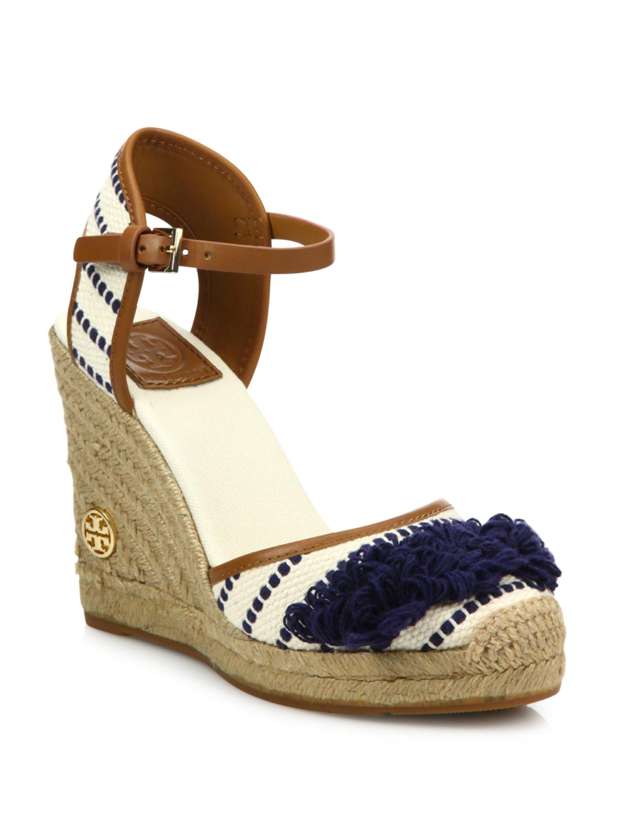 0d8763e39 Tory Burch Shaw Striped Wedge Espadrilles in Blue - Lyst