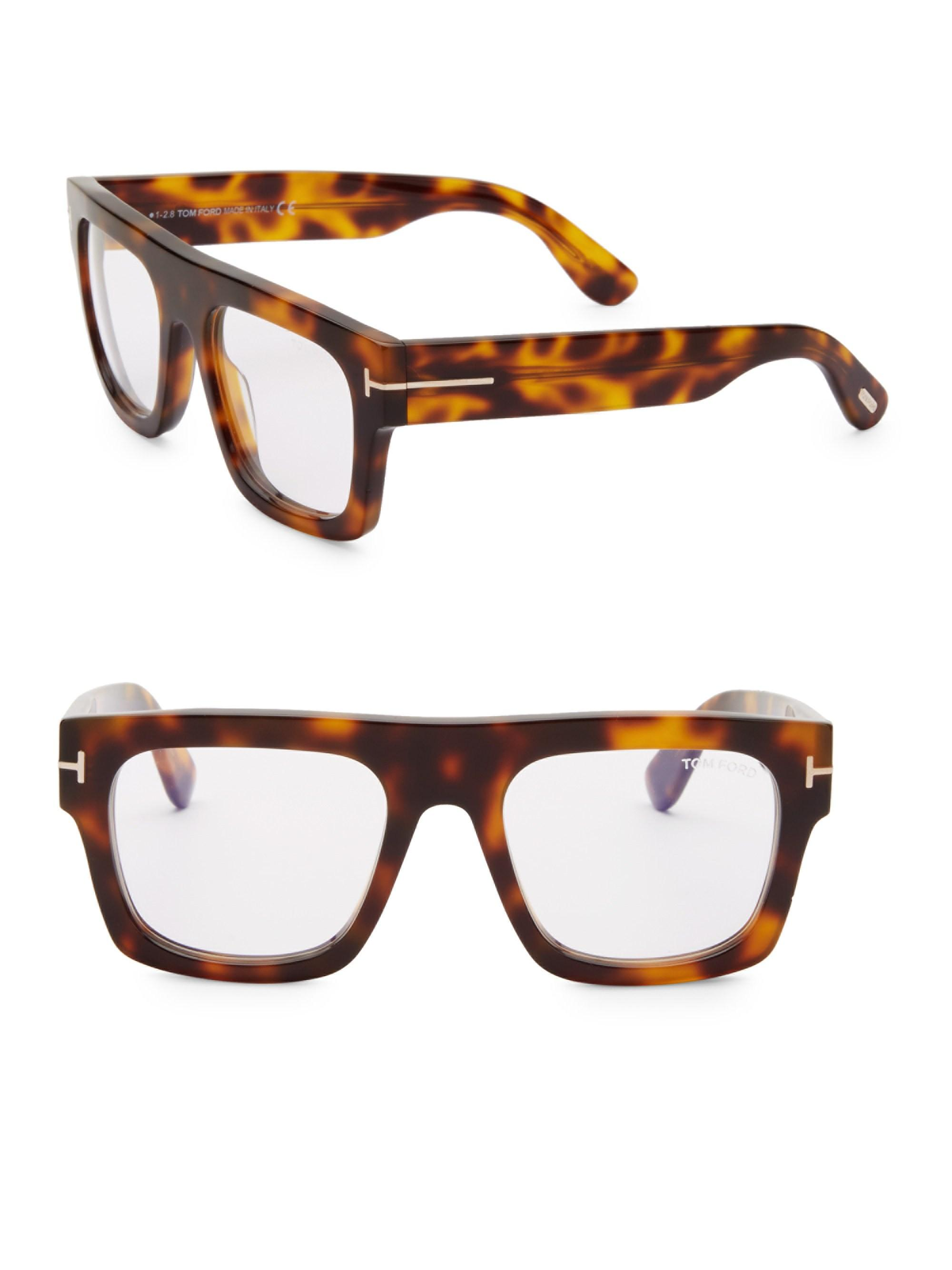 5737f63d31 Tom Ford Men s Blue Block 53mm Square Optical Glasses - Havana in ...