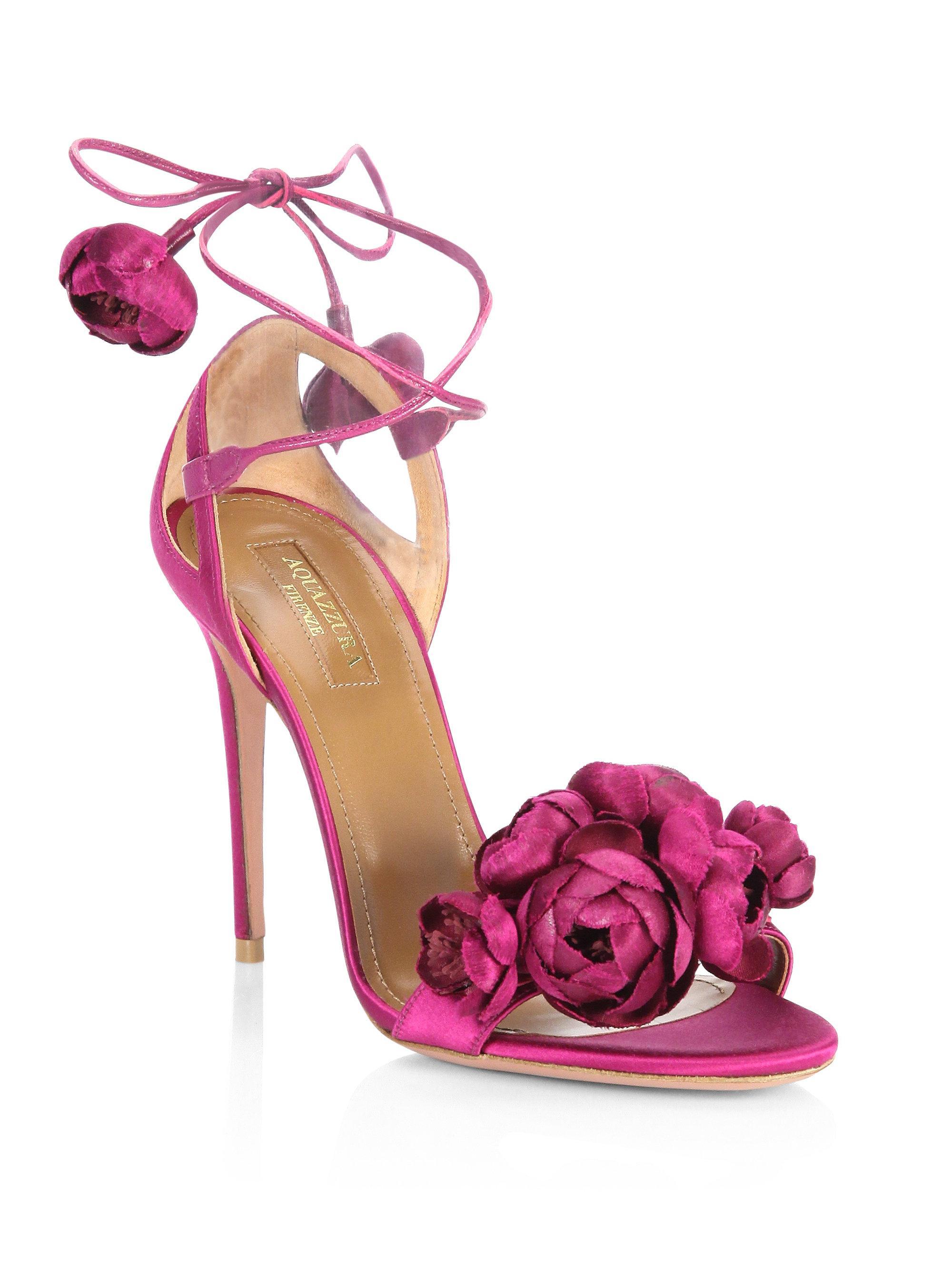 Lyst Aquazzura Wild Flower Satin Ankle Wrap Sandals In Pink
