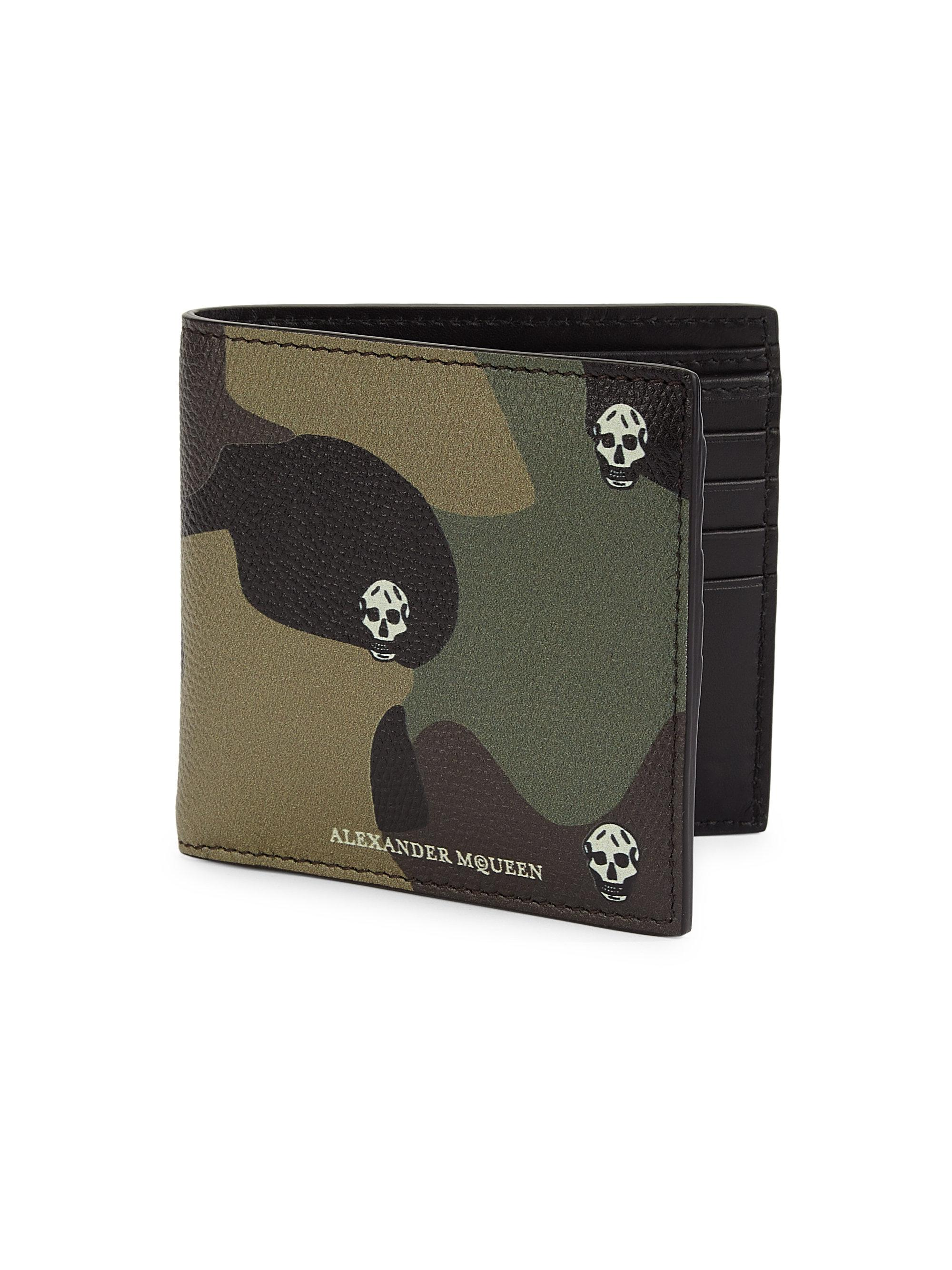 61c7421b97fca Alexander McQueen Camo Leather Billfold Wallet for Men - Lyst