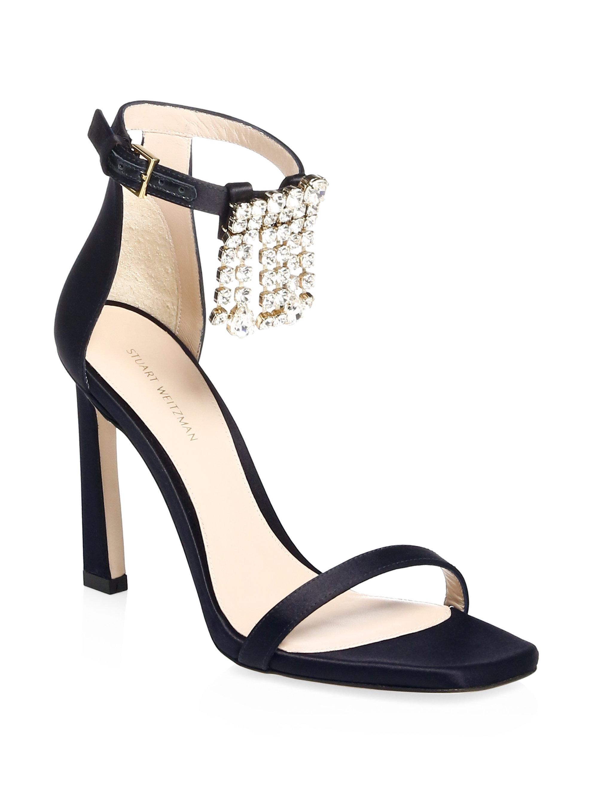 Clearance Professional Sale The Cheapest Stuart Weitzman Satin Embellished Fringed Sandals Cost Cheap Price jM2Sw0mL