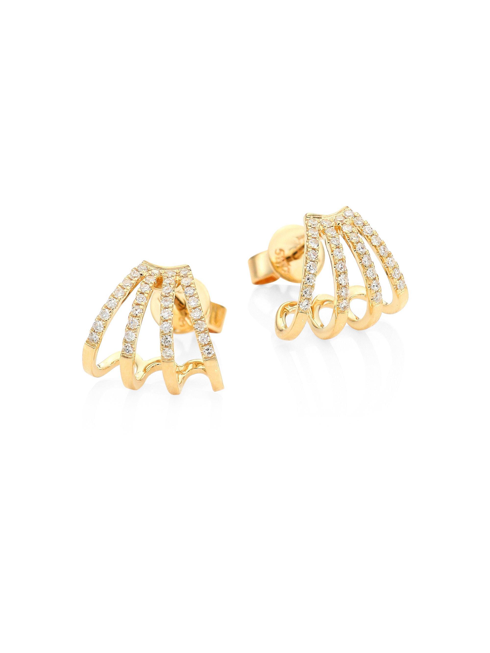 bar stud earring - Metallic EF Collection m2SVS7M3