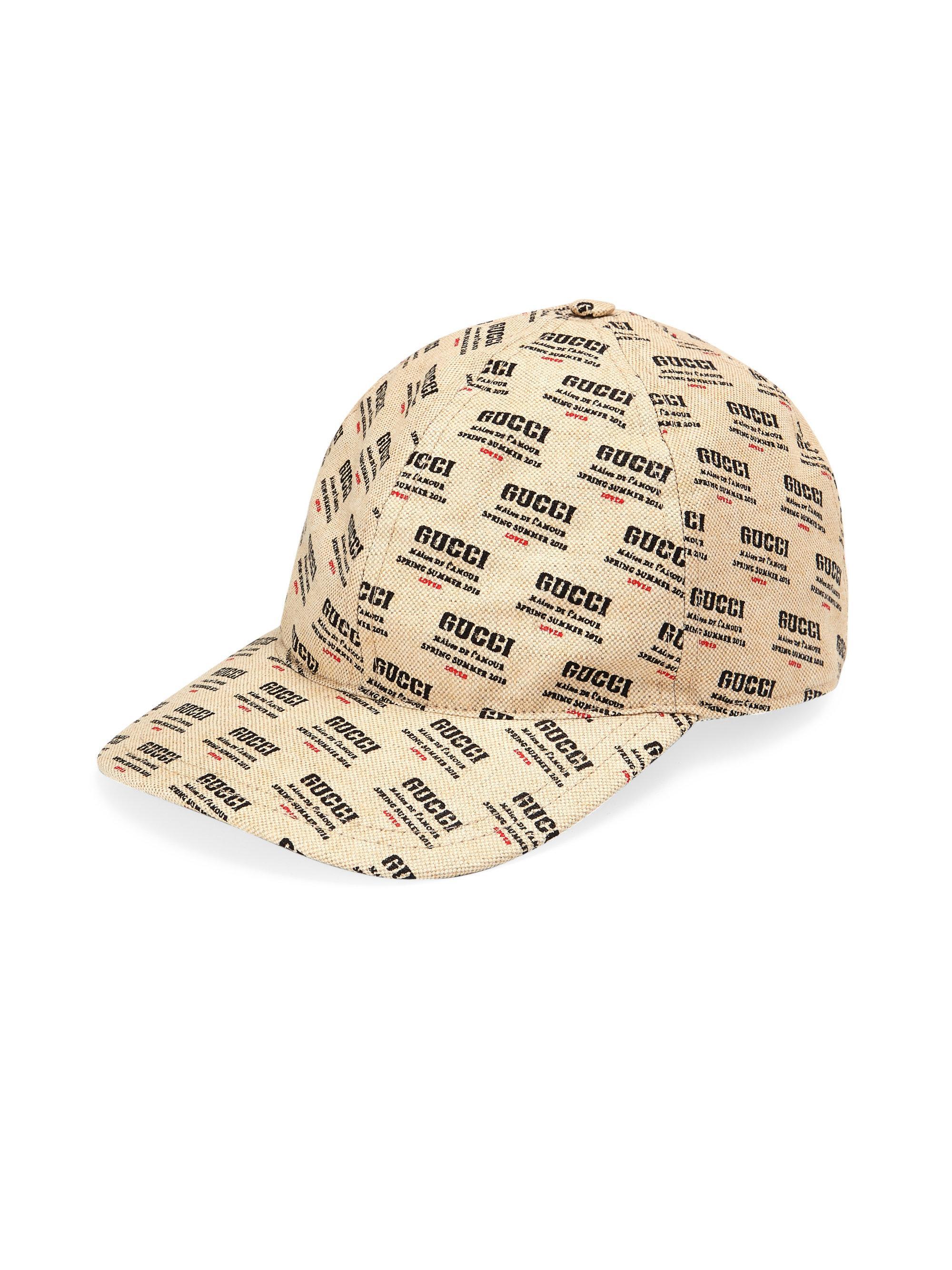 Lyst - Gucci Logo Invite Print Canvas Baseball Hat in Red for Men 6fc5e1a5490