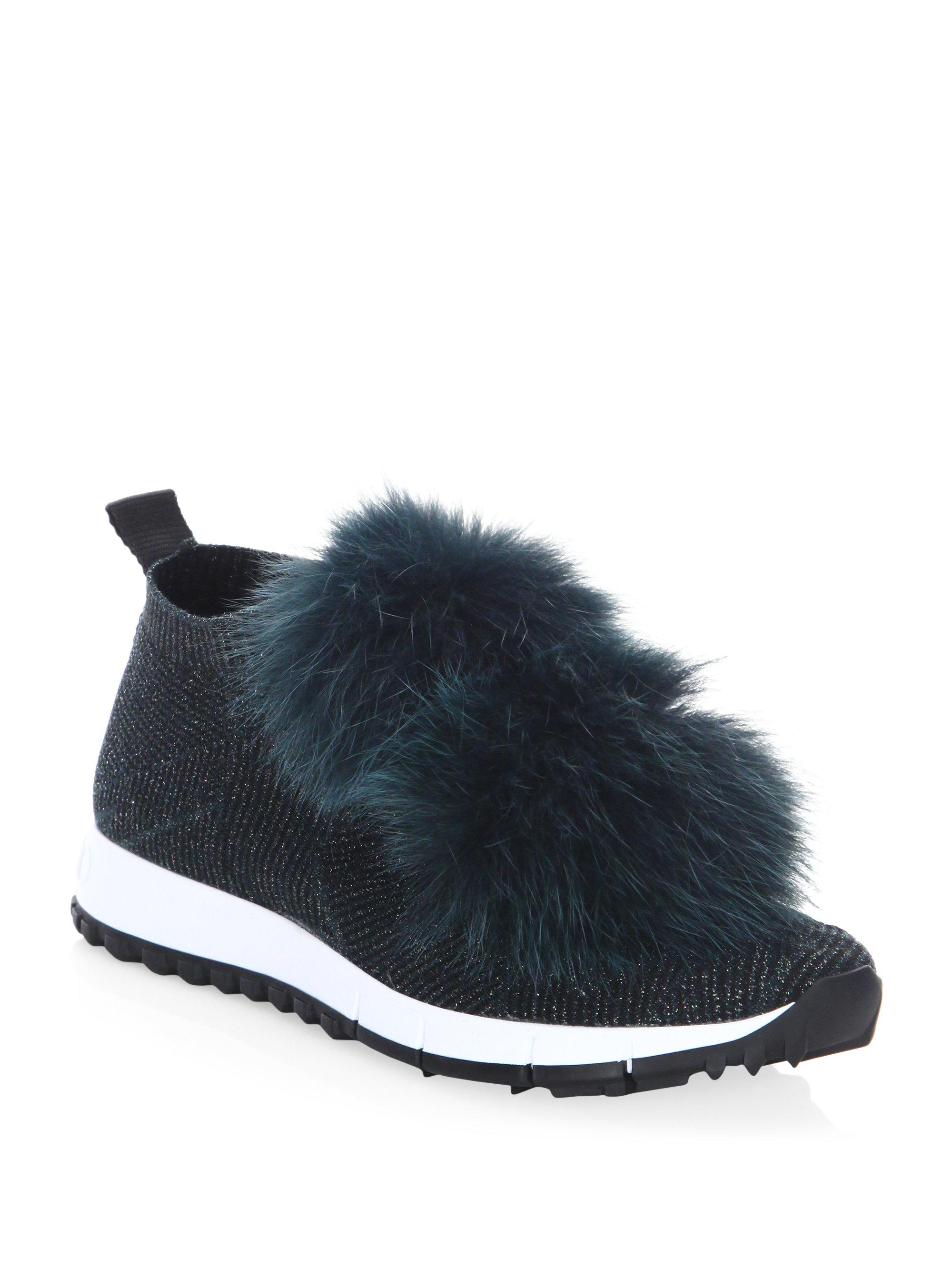Jimmy choo Norway Fur Pom-Pom & Lurex Sneakers rpF841lE