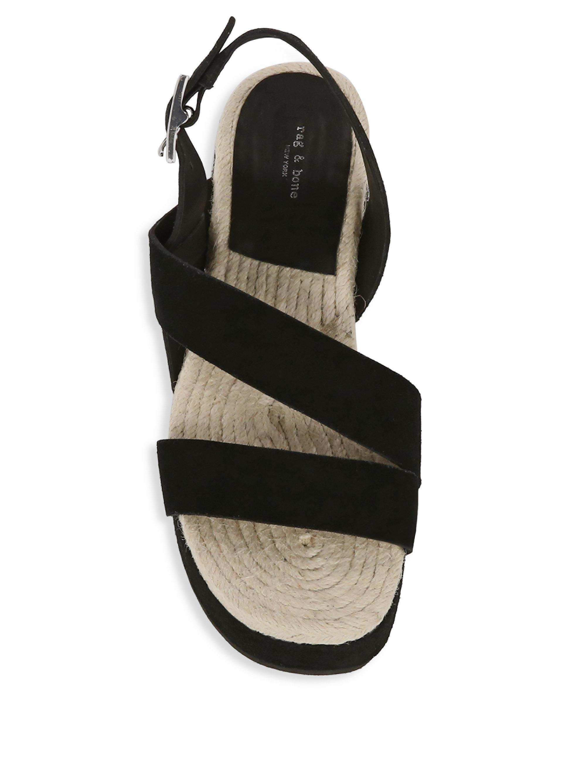 e850dab5f78 Rag   Bone - Black Megan Suede Wedge Sandals - Lyst. View fullscreen