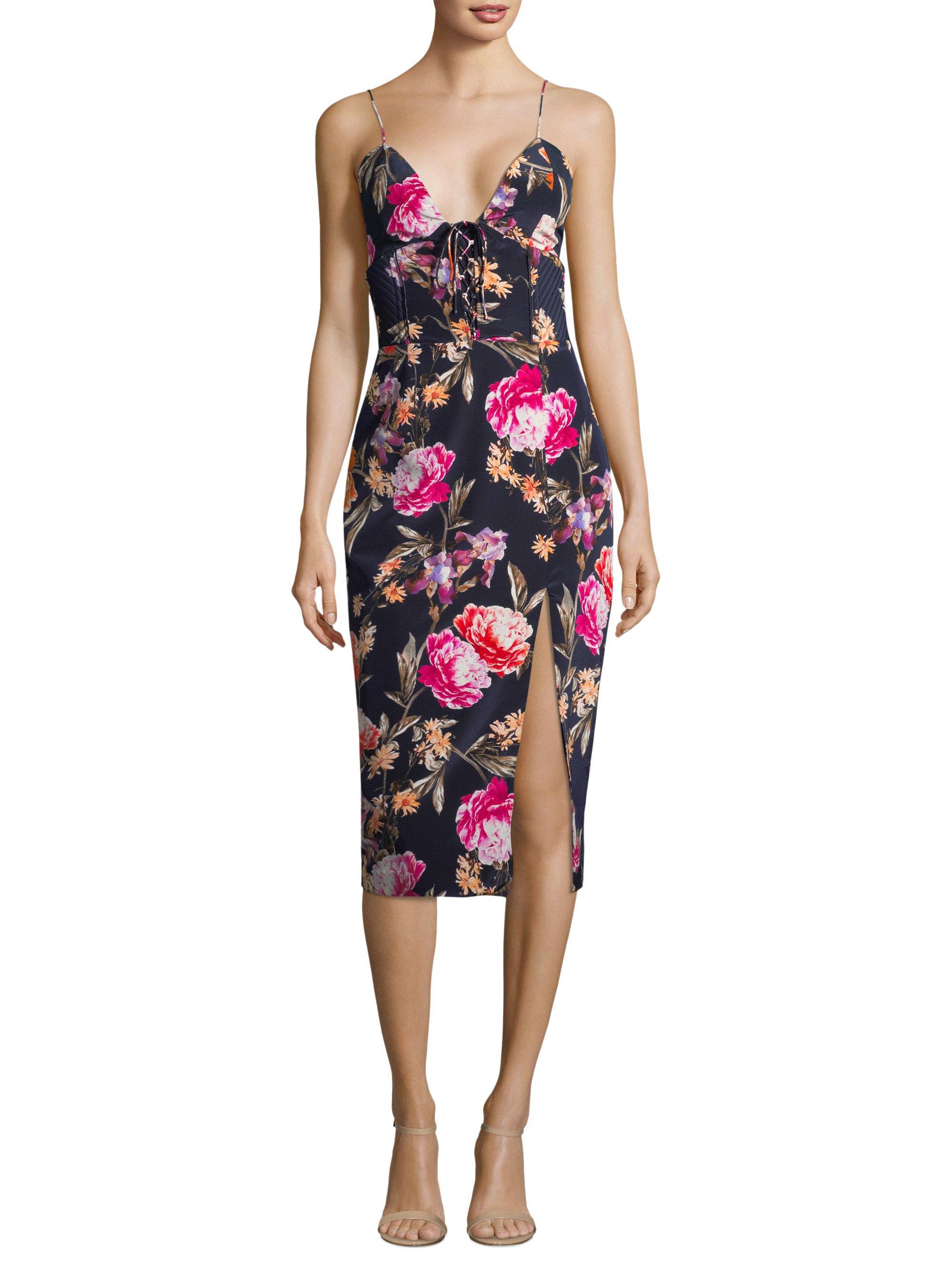 c4df9f47a6 Nicholas Lucile Silk Floral Dress in Blue - Lyst