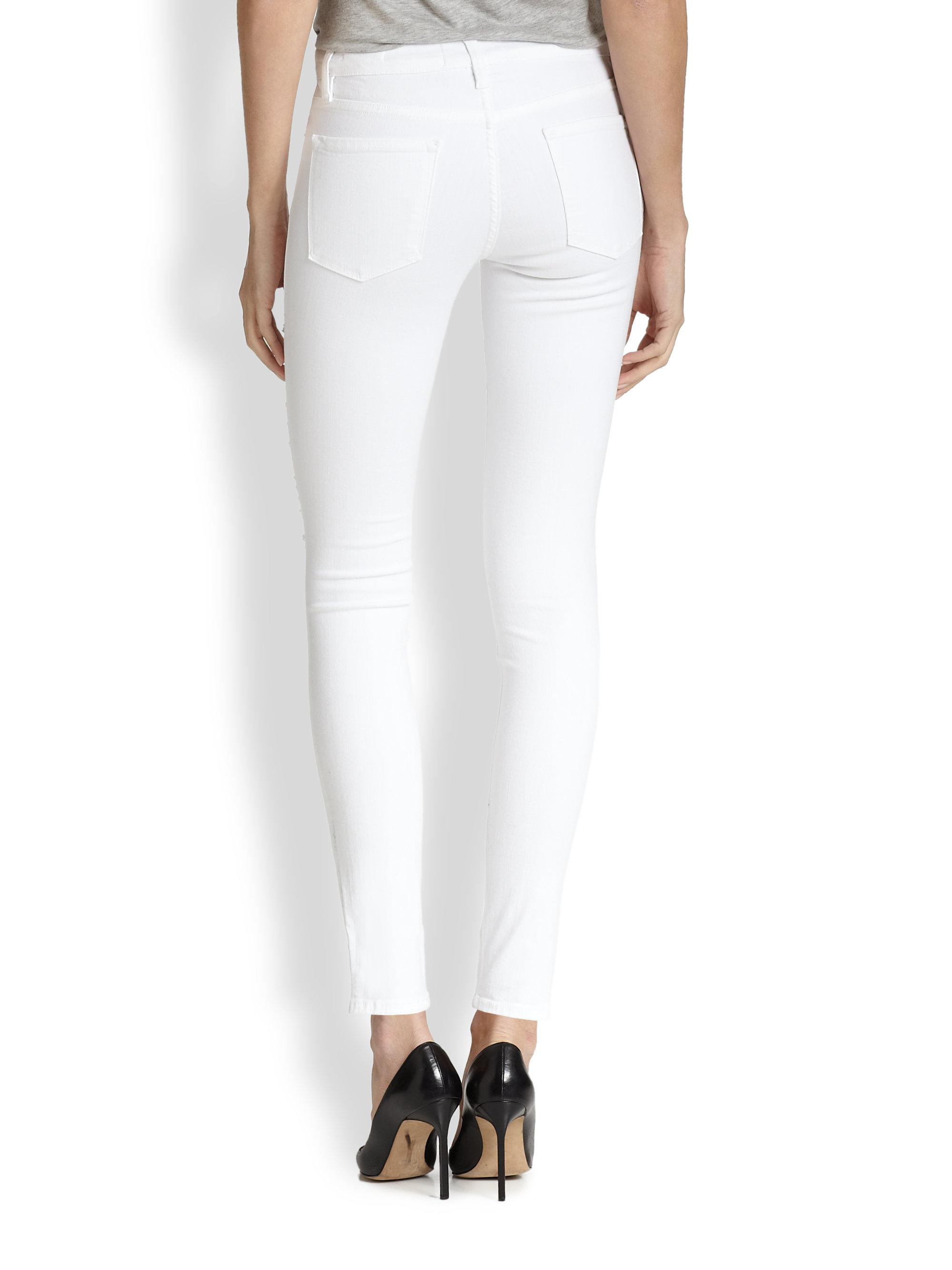 Frame Le Color Distressed Skinny Jeans in White - Lyst