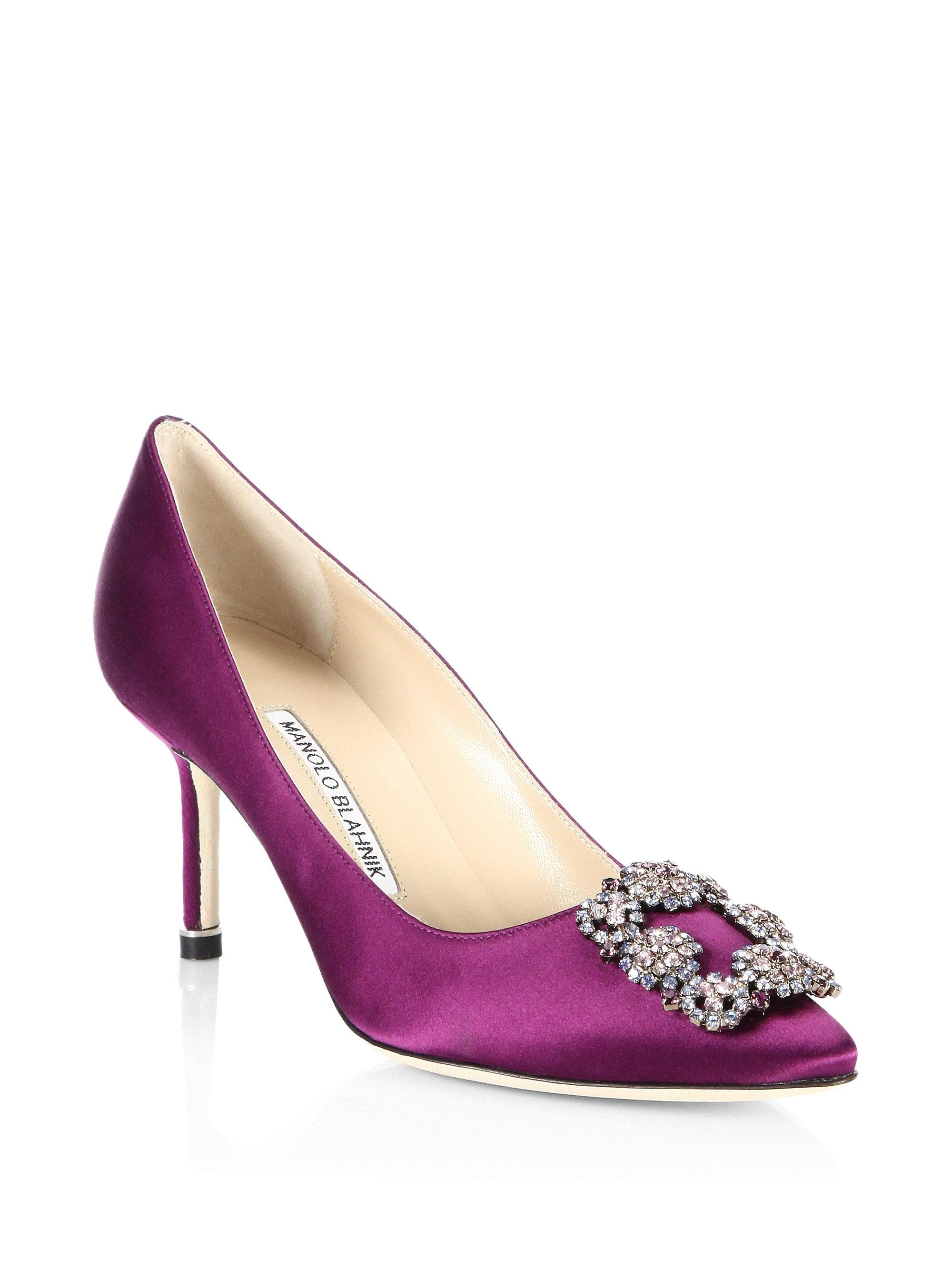 da04a4ce7575 Manolo Blahnik Hangisi 70 Ornamented Pumps in Purple - Lyst