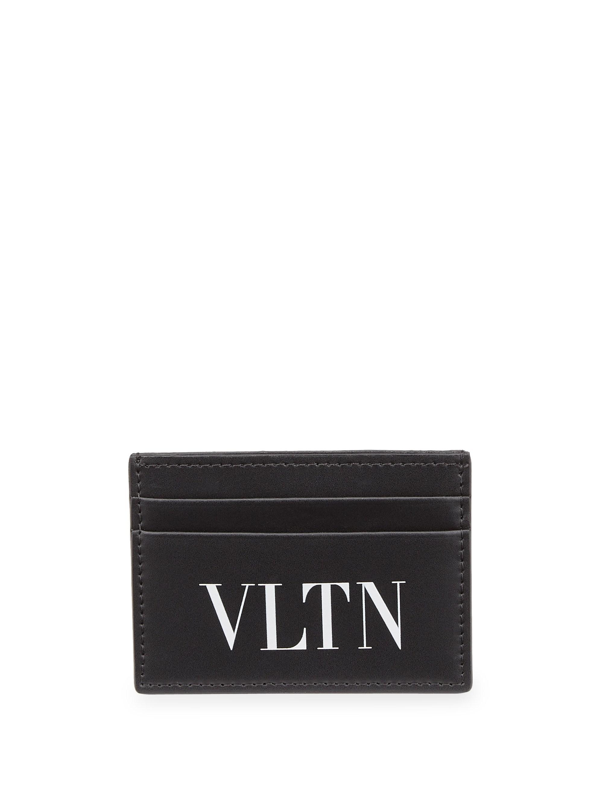 valentino mens black small logo leather credit card holder - Small Credit Card Holder