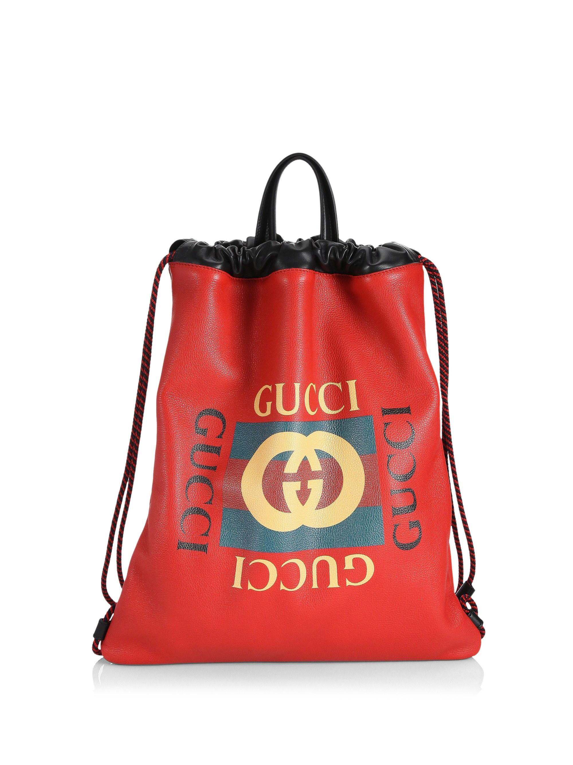 ed8738a9a206 Gucci Logo Leather Drawstring Backpack in Red for Men - Lyst