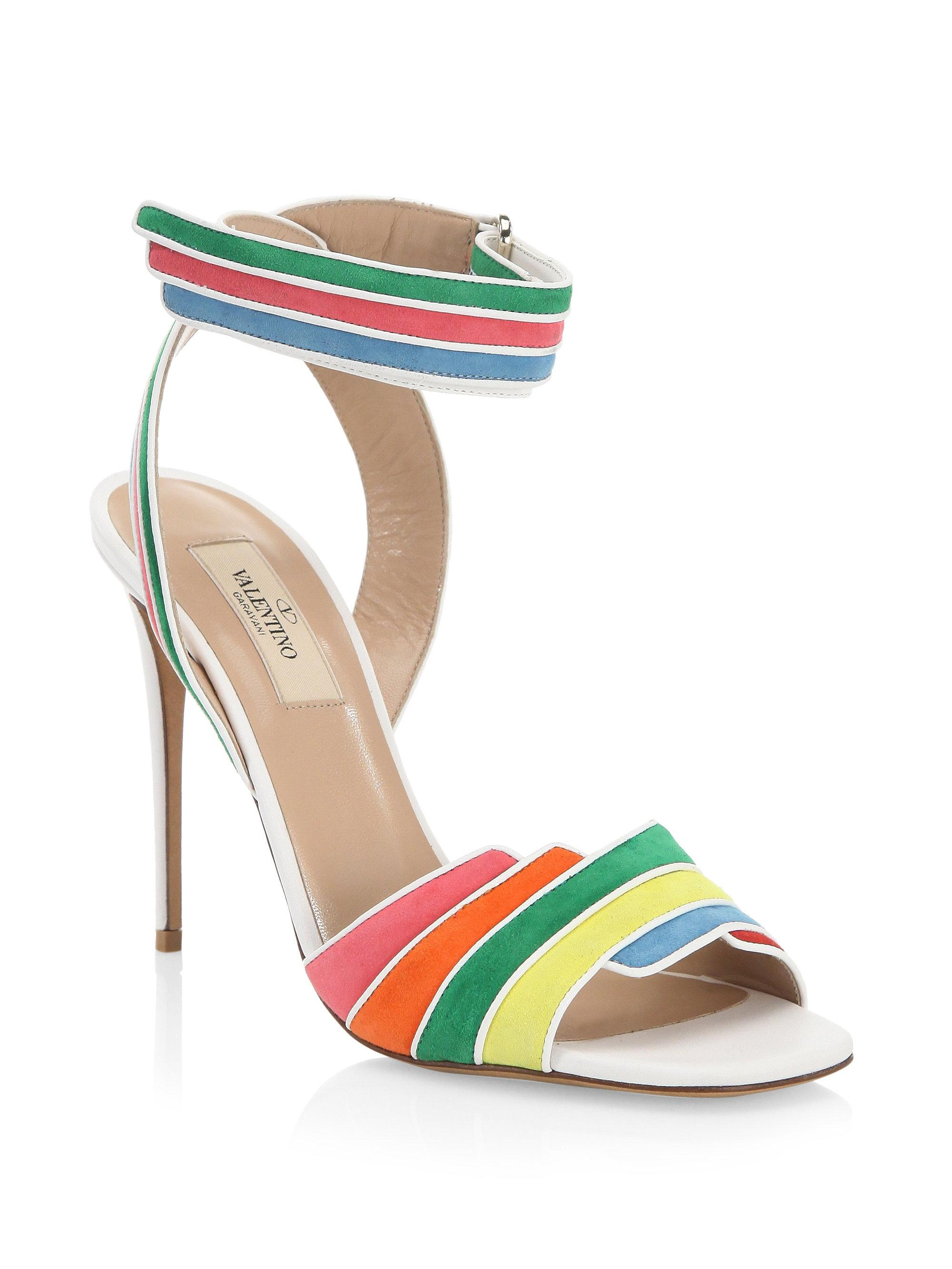 Rainbow Sandals with Ankle Strap in Multi Suede and Nappa Leathers Valentino E4e3gsK9sD