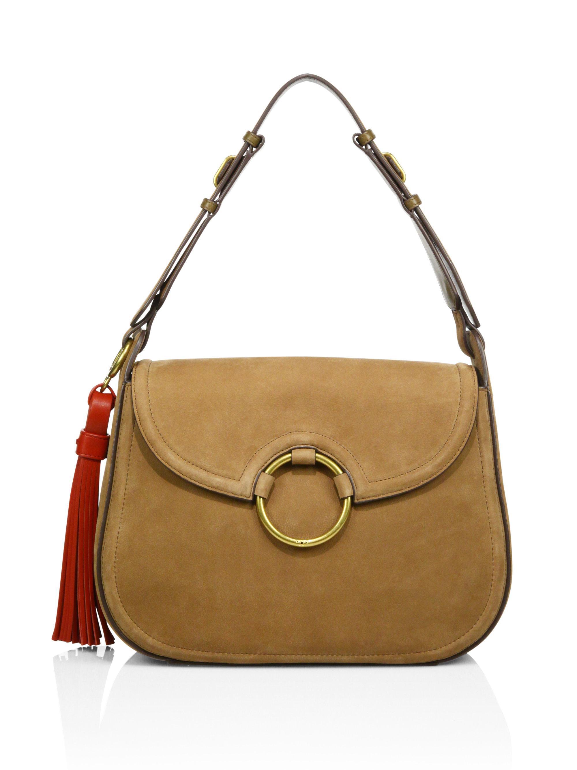 6b891ba0e27 Lyst - Tory Burch Tassel Suede Large Shoulder Bag