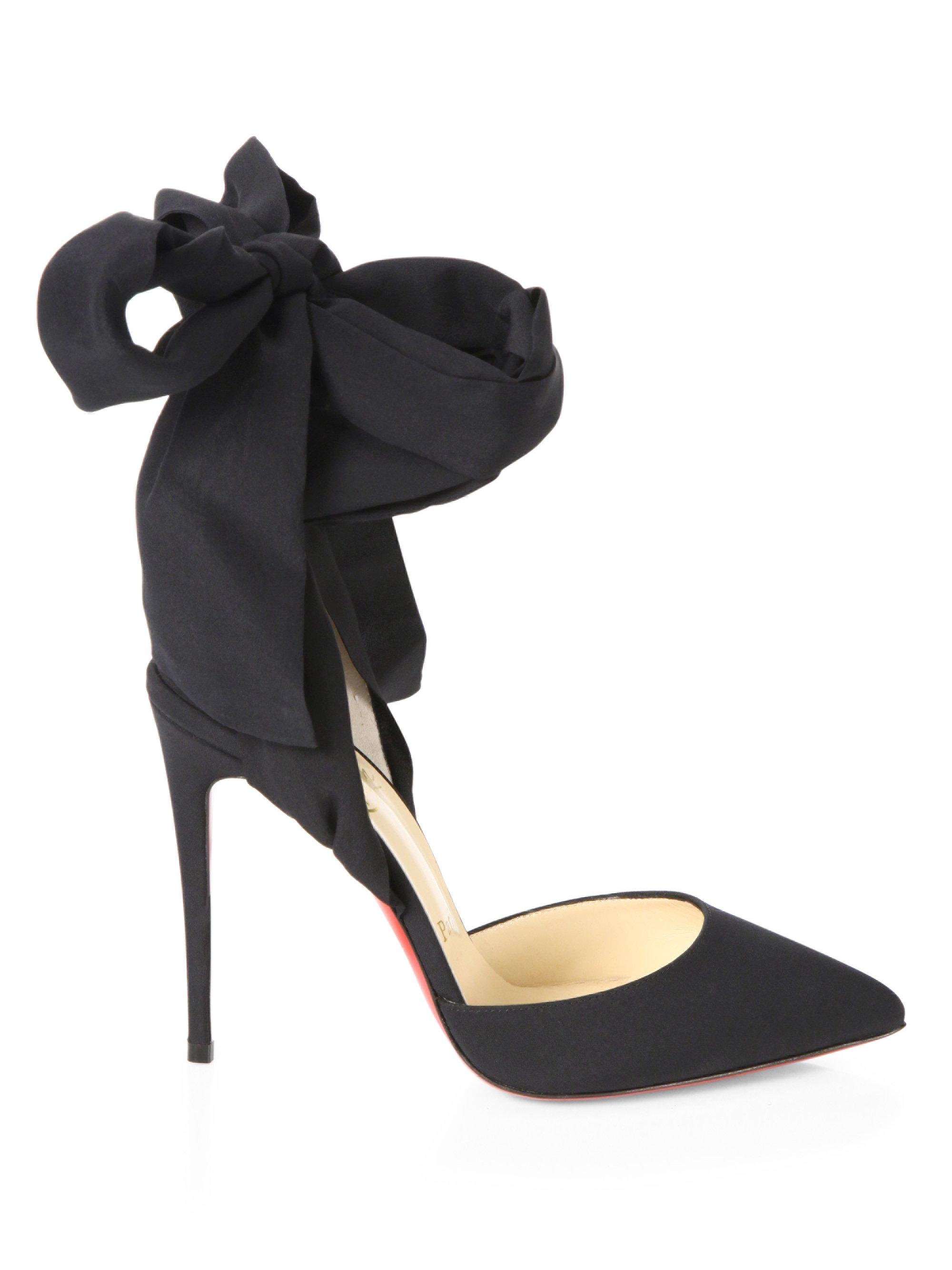huge selection of 2b04b c7261 Christian Louboutin Black Douce Du Desert 100 Crepe De Chine Ankle-tie Pumps