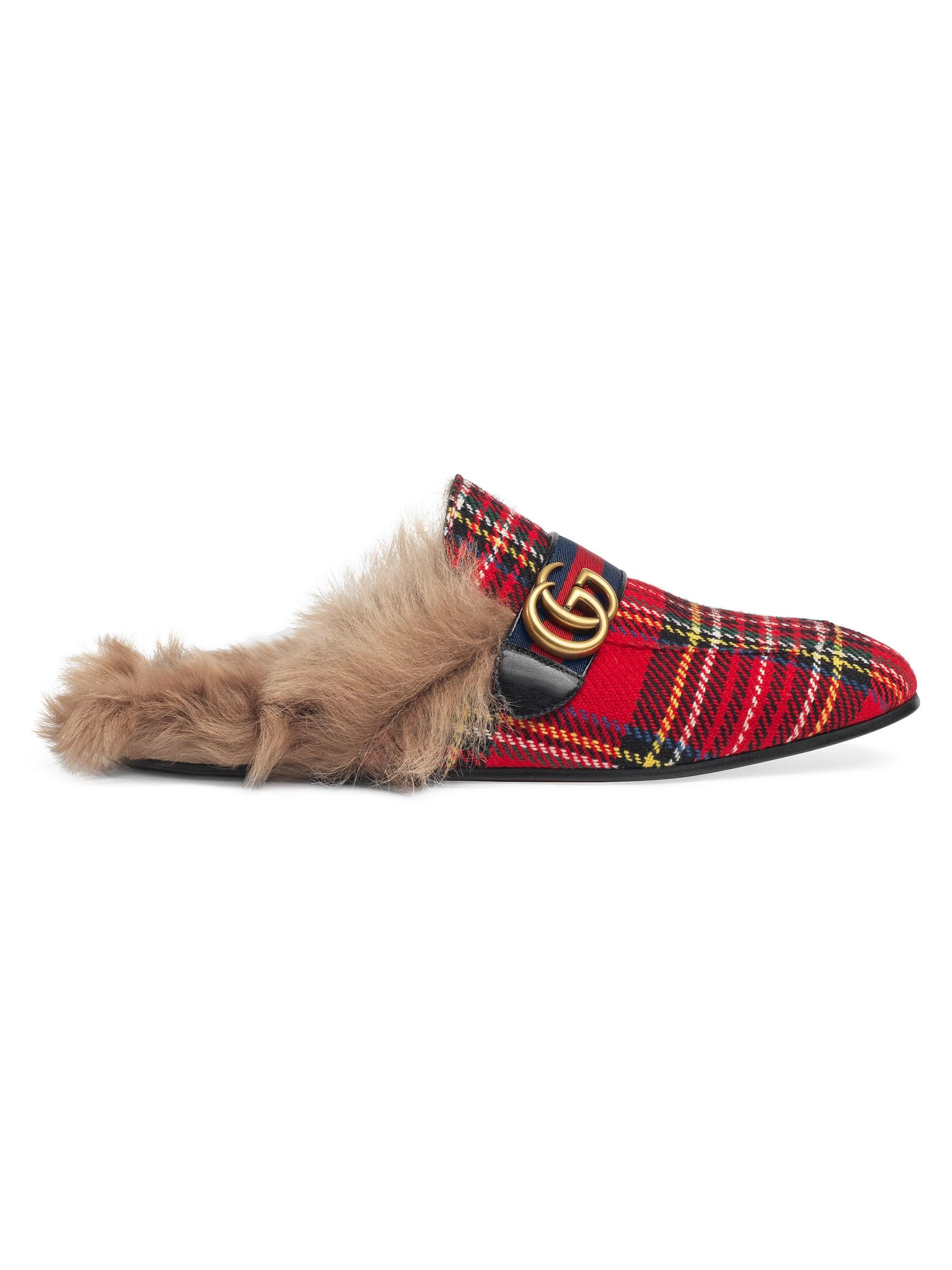 Gucci Leather Men S Princetown Tartan Slipper With Double G Red For Men Lyst