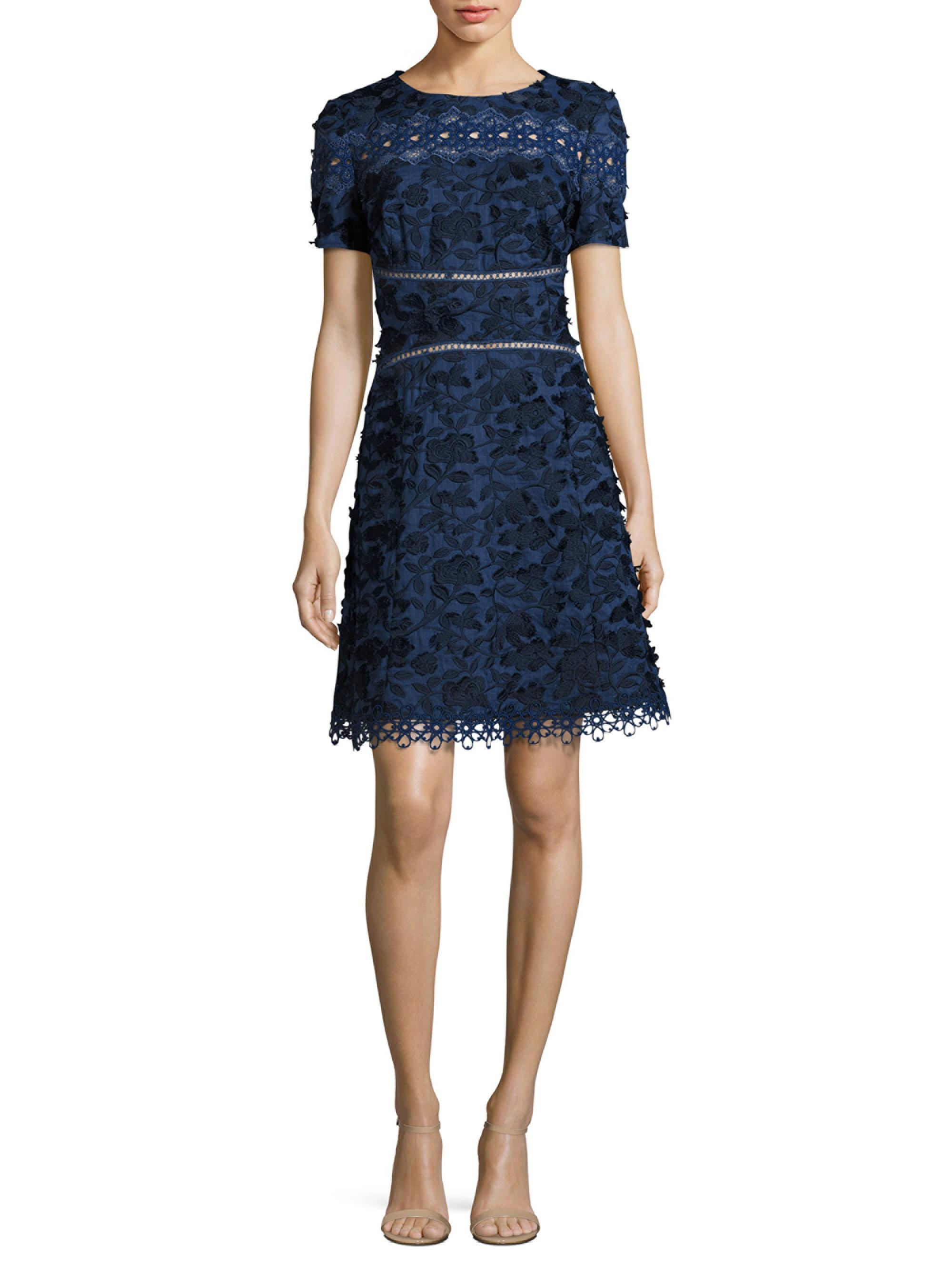 elie tahari adina embroidered a line dress in blue lyst. Black Bedroom Furniture Sets. Home Design Ideas