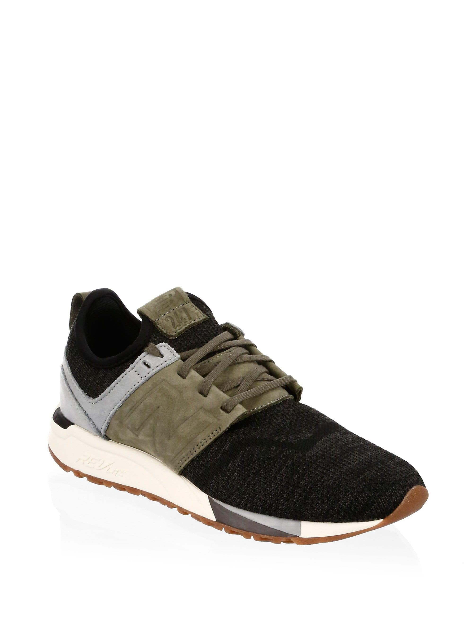 Lyst - New Balance Men s 247 Nubuck Knit Sneakers - Black Olive ... fde799d561a