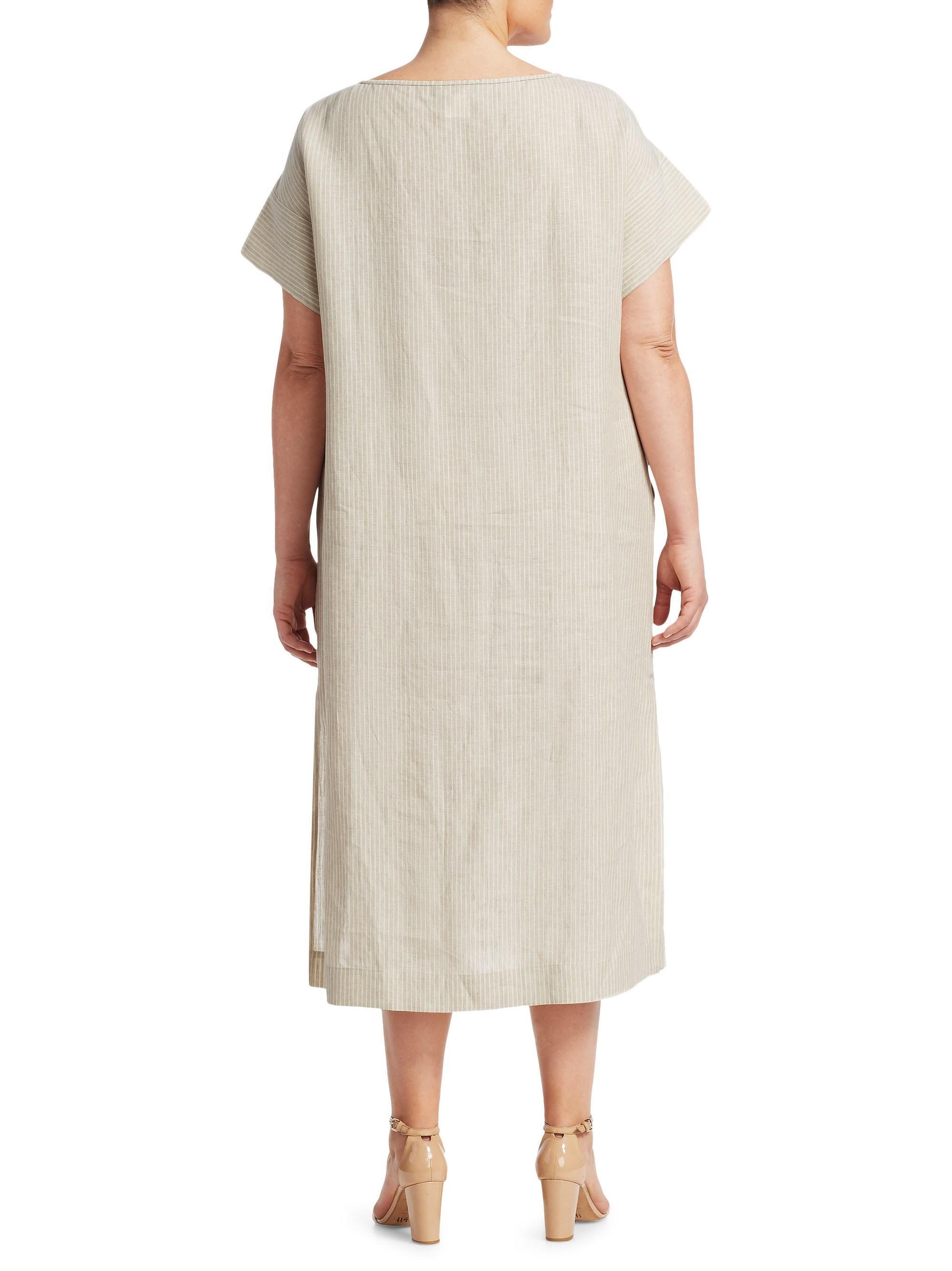 Lafayette 148 New York Multicolor , Plus Size Women\'s Emiline Striped Dress  - Tahini Multi - Size 1x (14-16)
