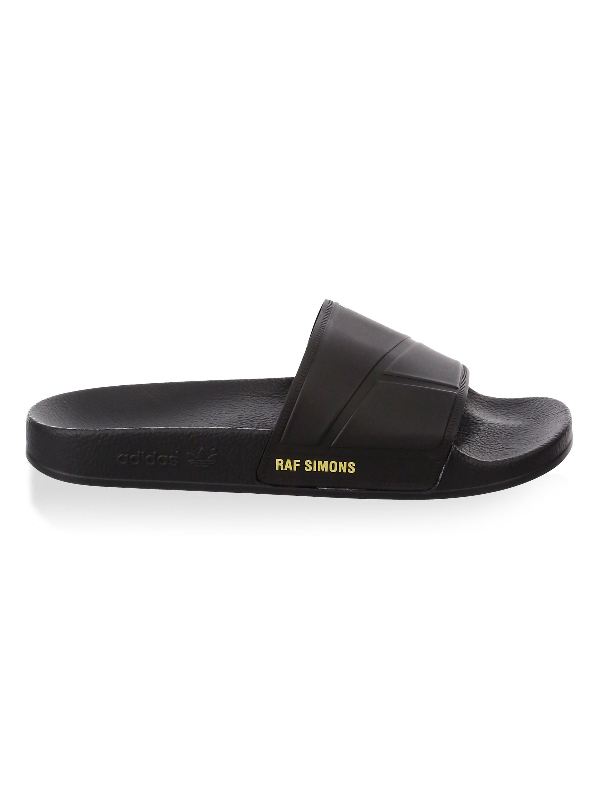 1cd9530075ef Lyst - adidas By Raf Simons Men s Raf Adilette Rubber Slides - Black ...
