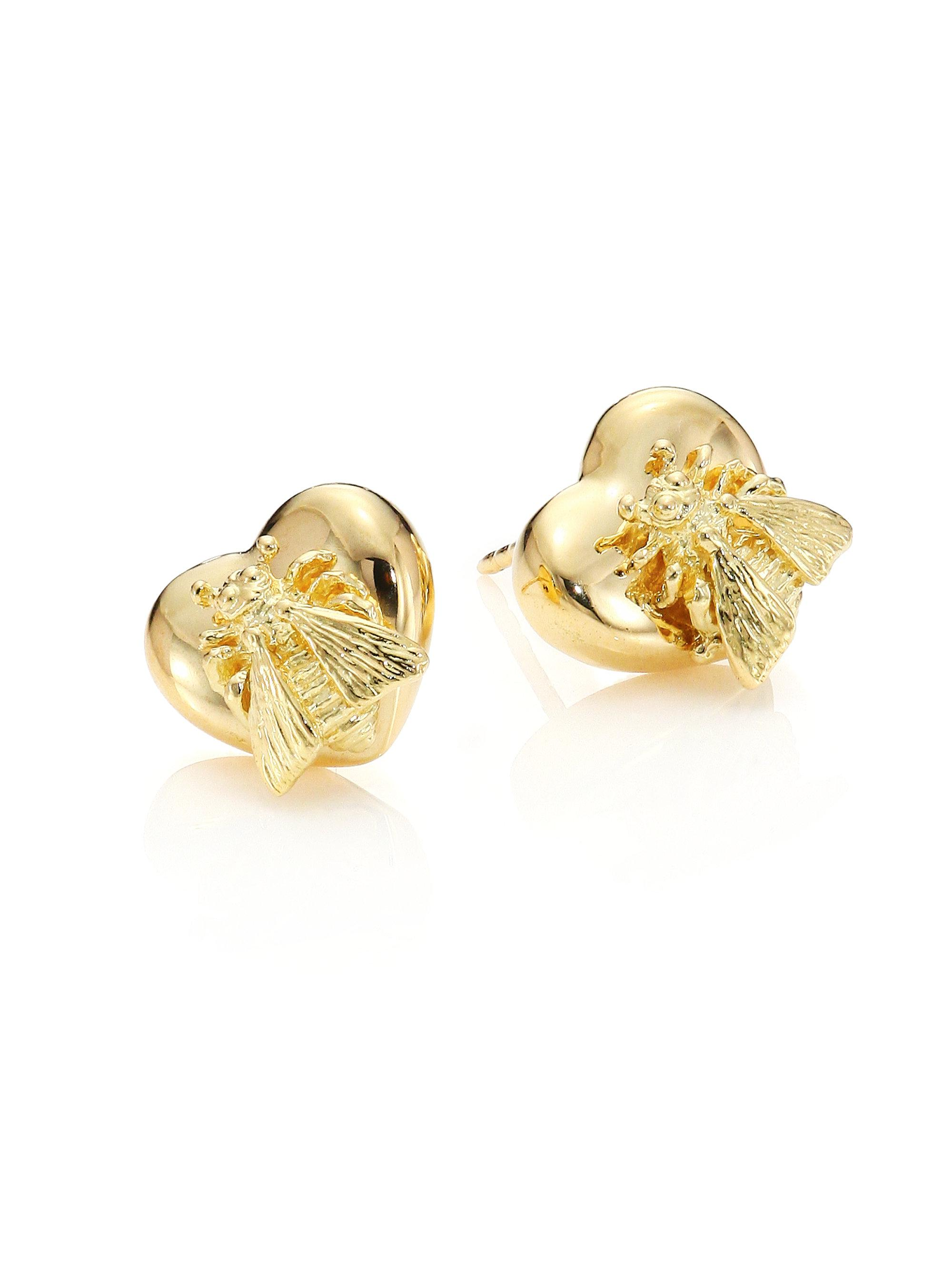 leon yvonne and diamond on lyst gold product gallery jewelry normal l stud earring metallic in bee