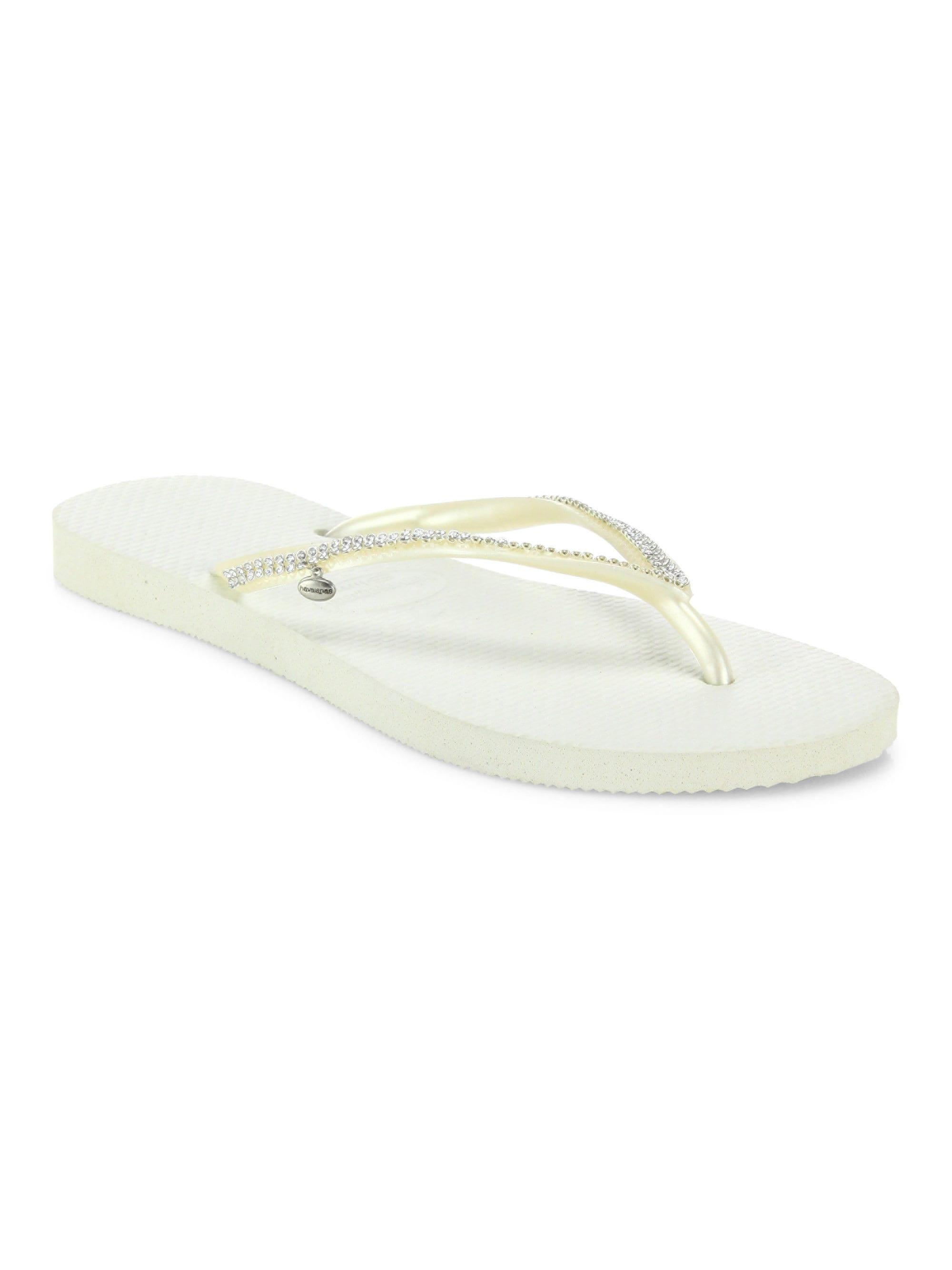 3e7236ae8a02 Havaianas - White Slim Crystal Mesh Flip Flops - Lyst. View fullscreen