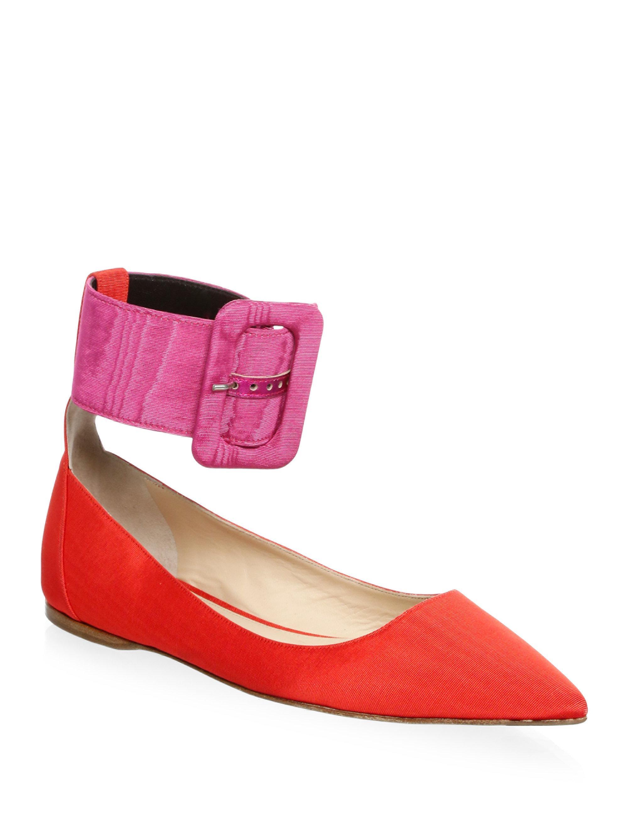 ATTICO Ankle Belt Velvet Ballet Flats VYuirh