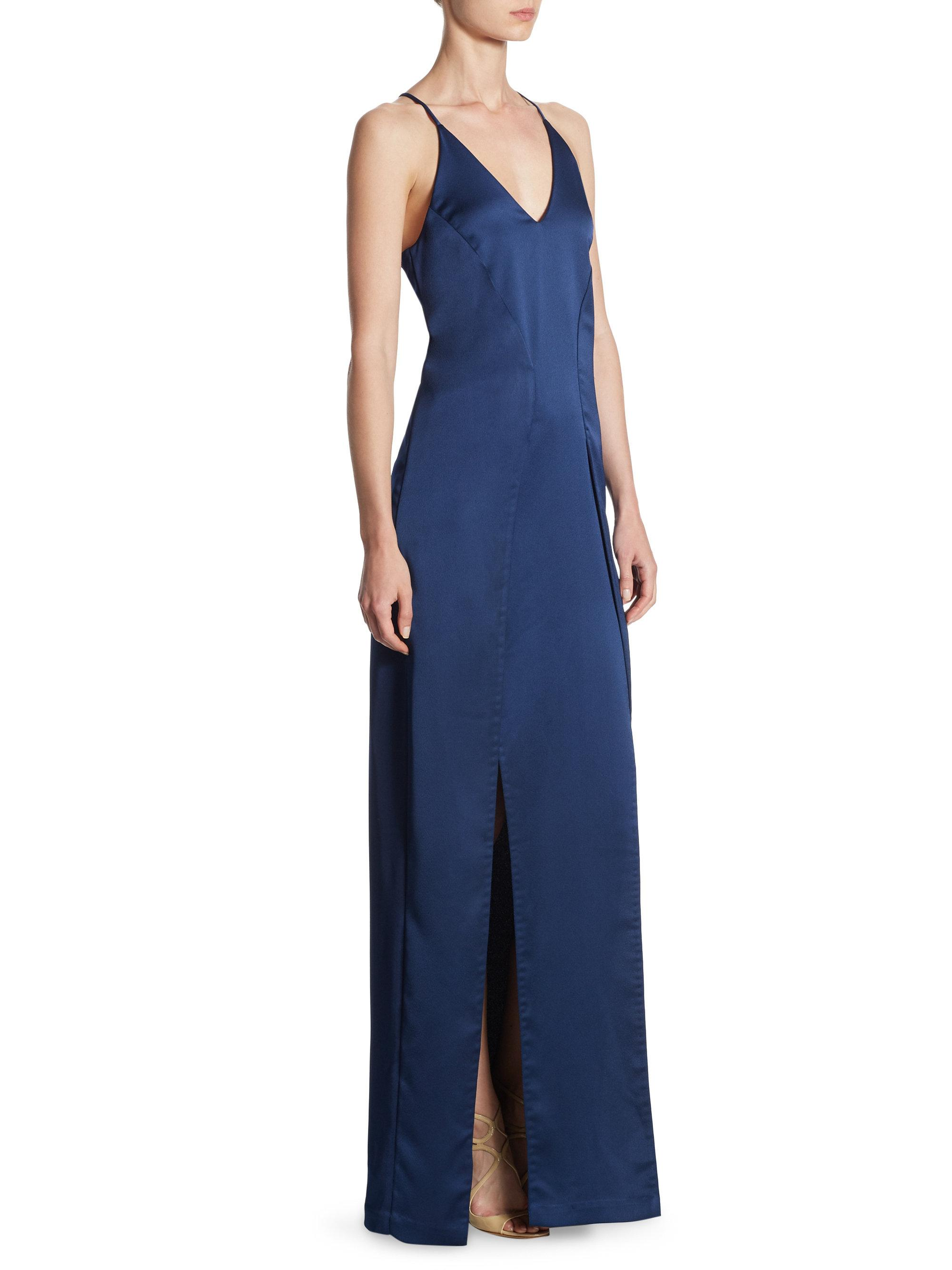 c5d81de64c03 Halston V-neck Satin Slip Gown in Blue - Lyst
