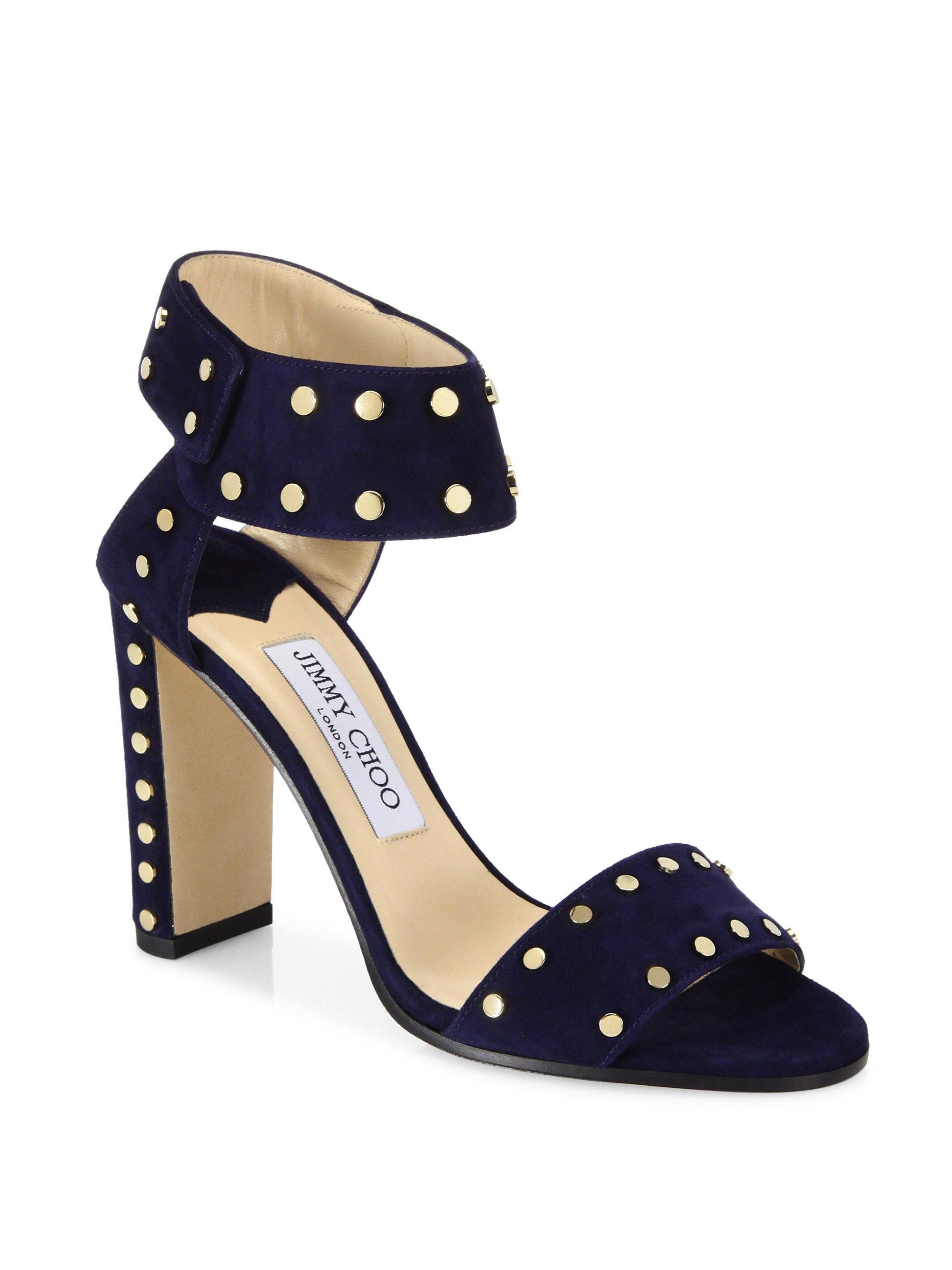 0dd9441c5185 Lyst - Jimmy Choo Veto Studded Suede Block-heel Sandals in Blue